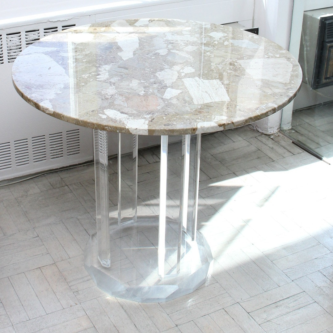 Modernist Marble Top Patio Table With Acrylic Base ...
