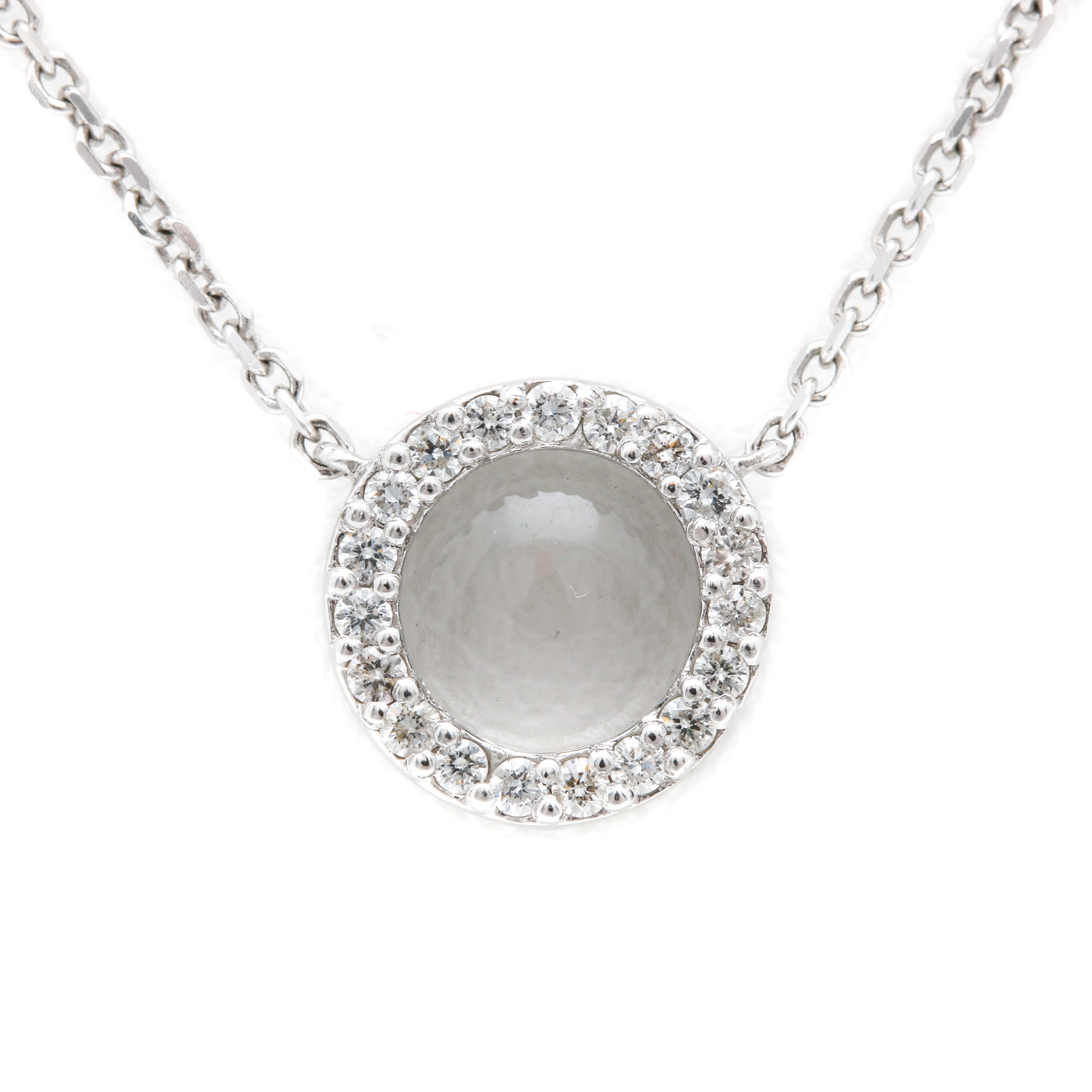14K White Gold Diamond Fixed Pendant Necklace with Magnifying Glass
