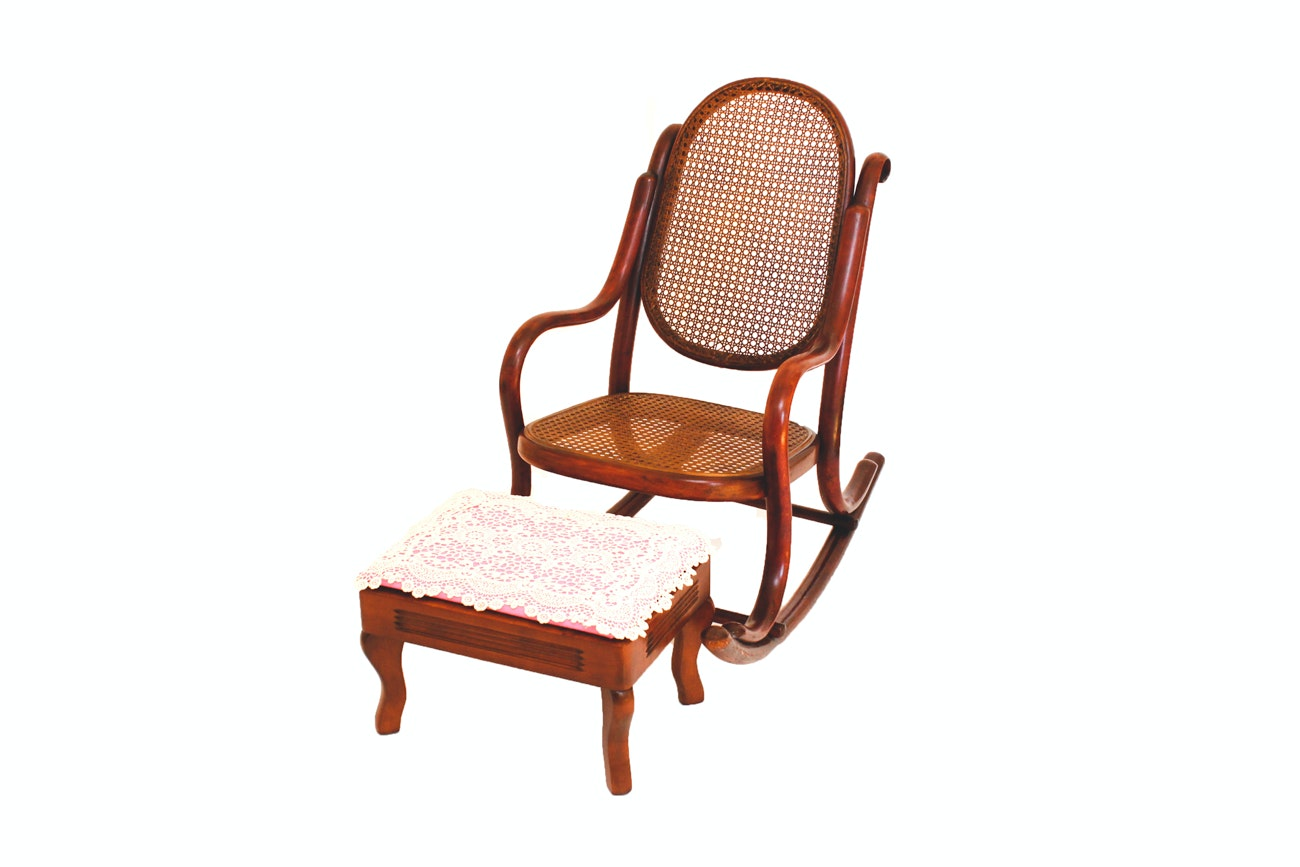 Antique Children's Rocking Chair with Footstool