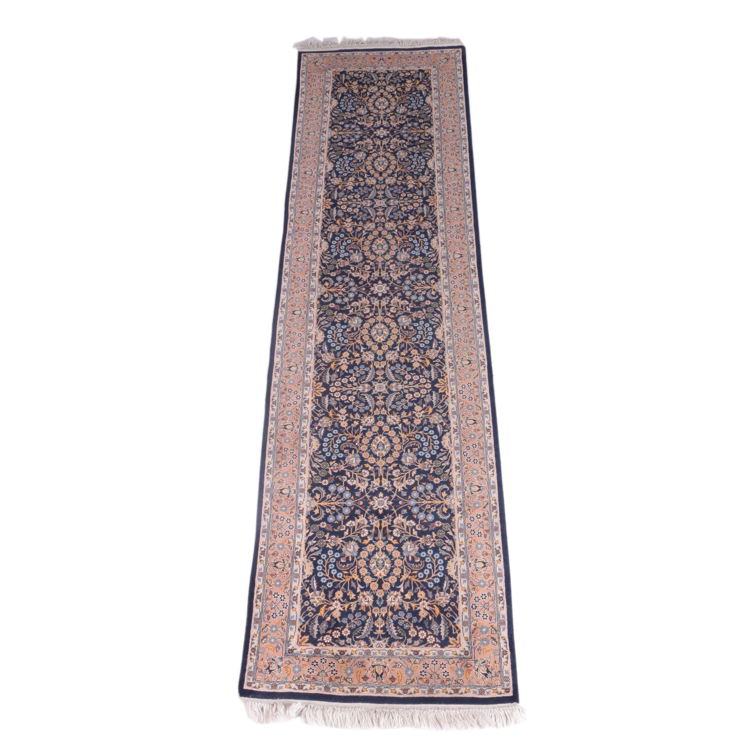 Hand-Knotted Persian Kashan Style Wool Carpet Runner
