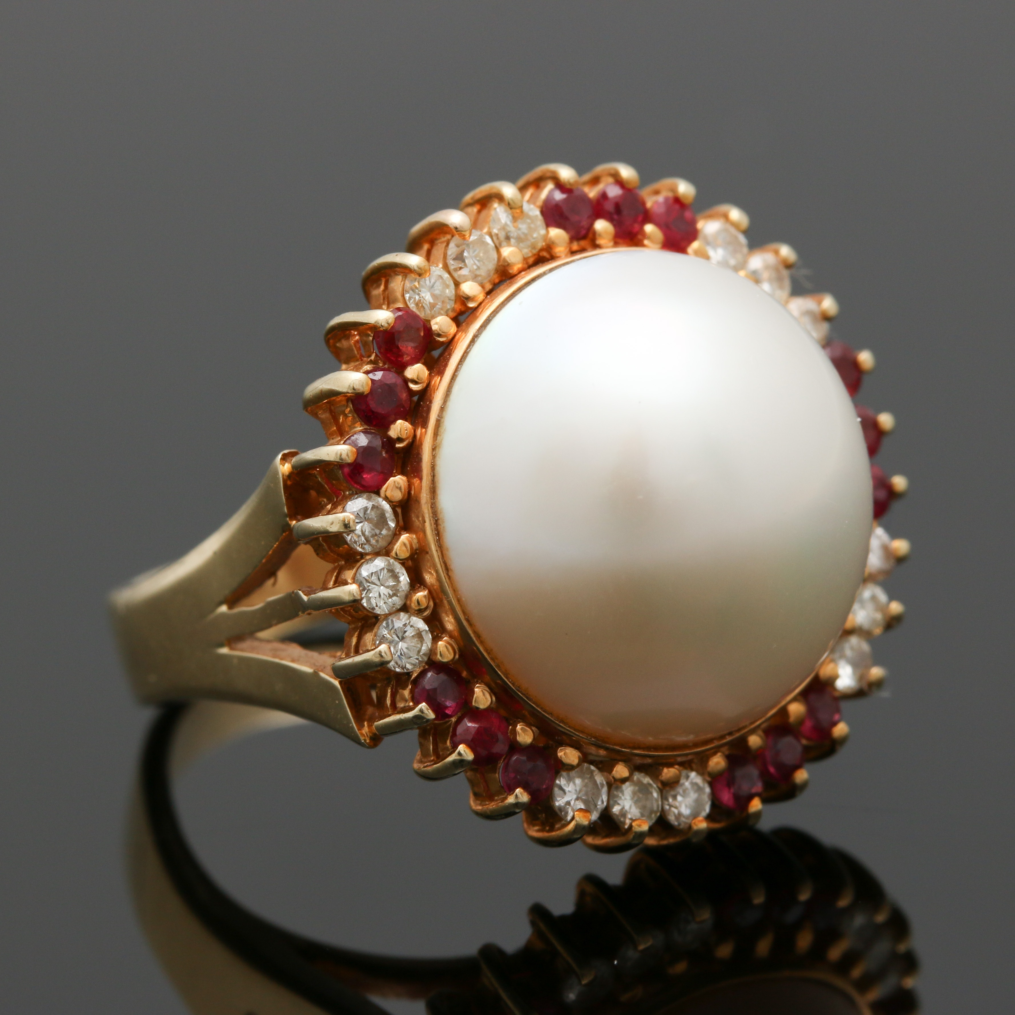 14K Yellow Gold Pearl and Gemstone Ring