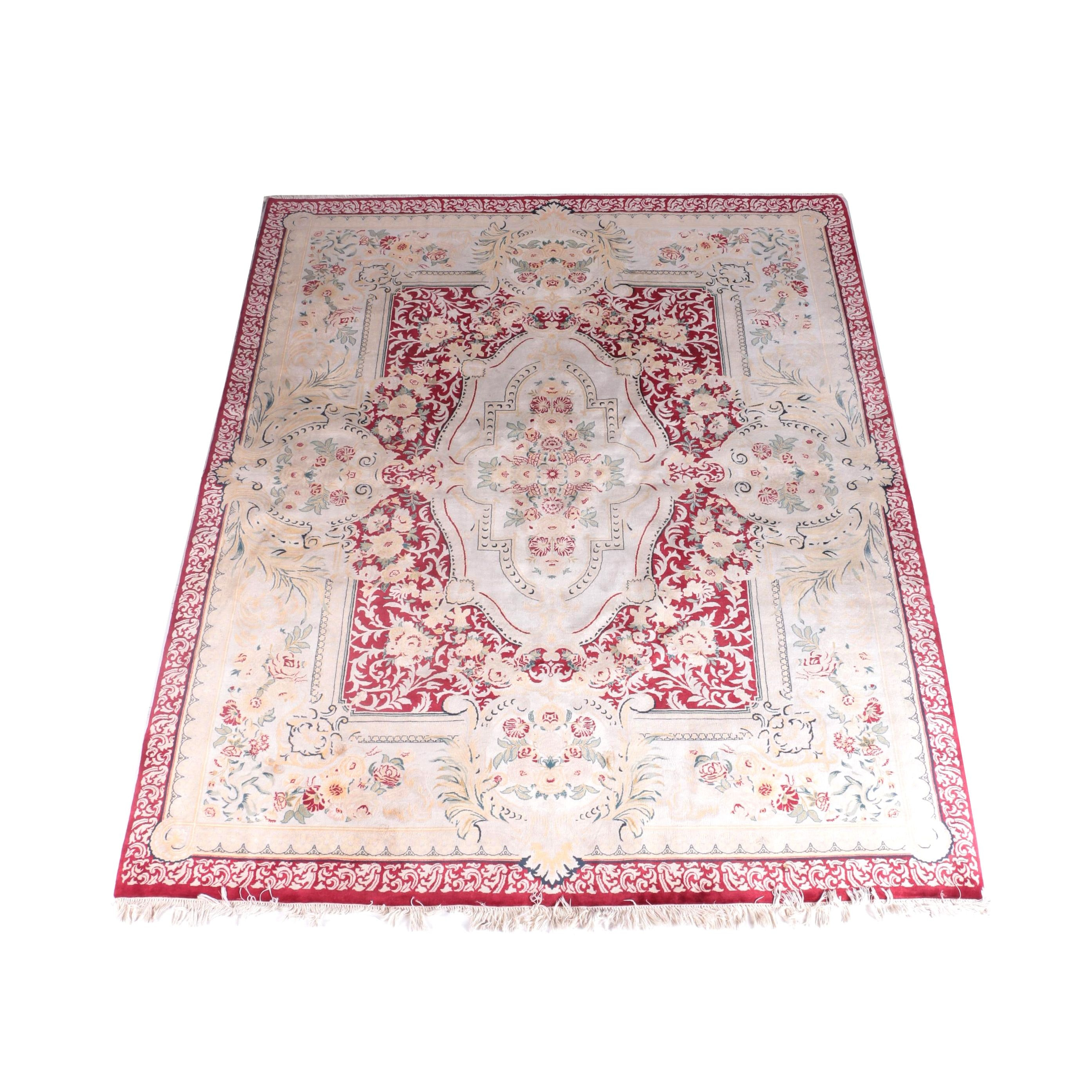Finely Hand-Knotted Wool and Silk Area Rug