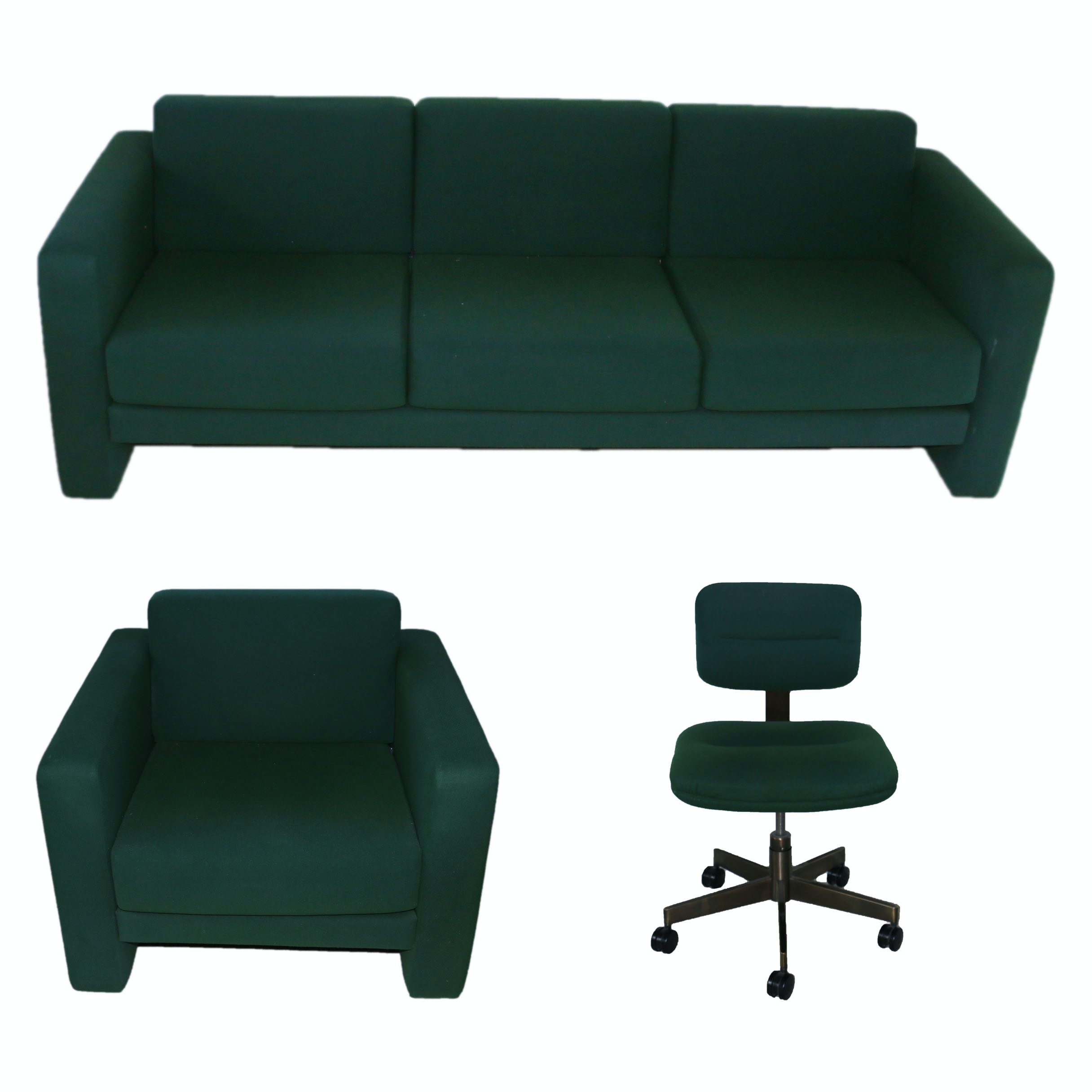 Green Upholstered Sofa, Armchair, and Office Chair by Interiors International