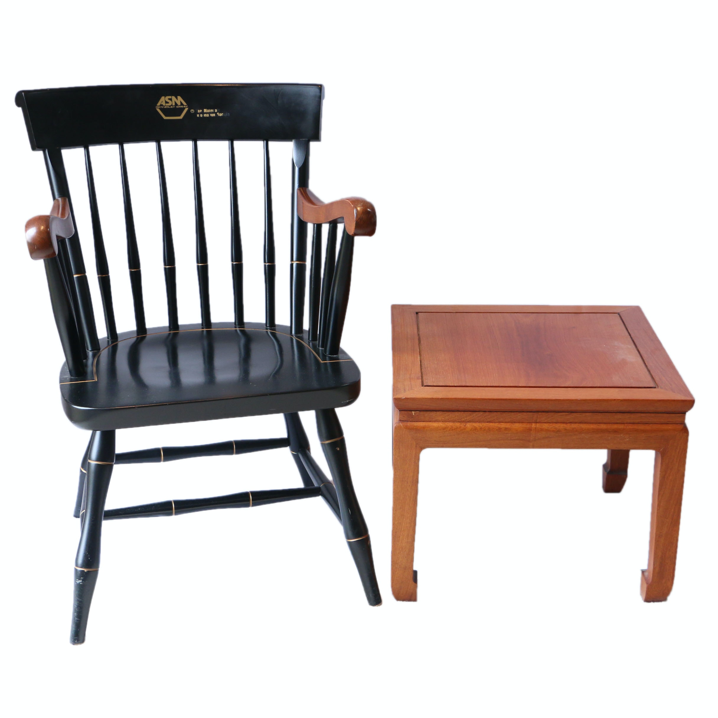 """""""ASM International University"""" Windsor Style Chair and End Table"""
