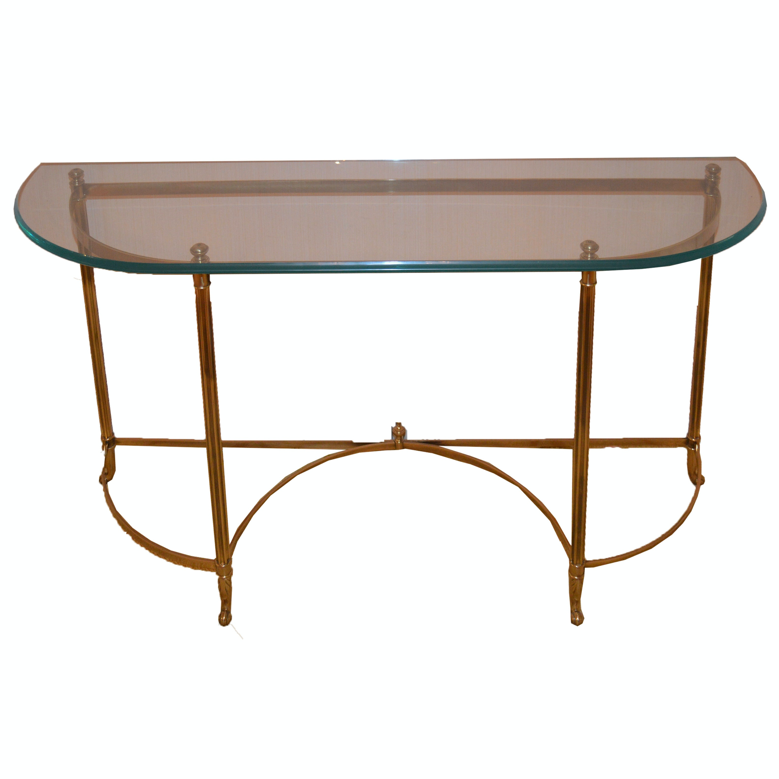 French Inspired Glass and Antique Brass Console Table