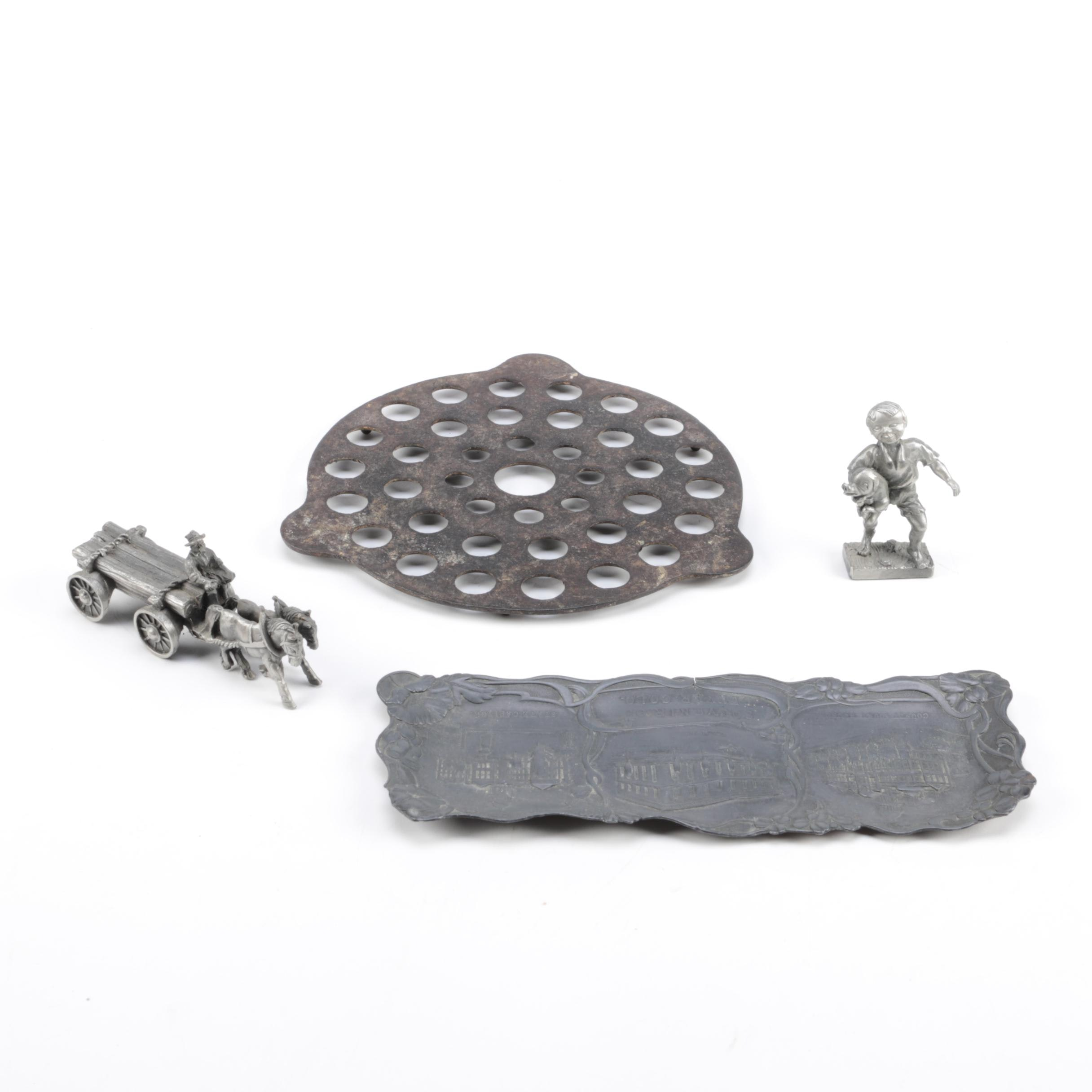 Cast Iron Trivet and Pewter Tray and Figurines
