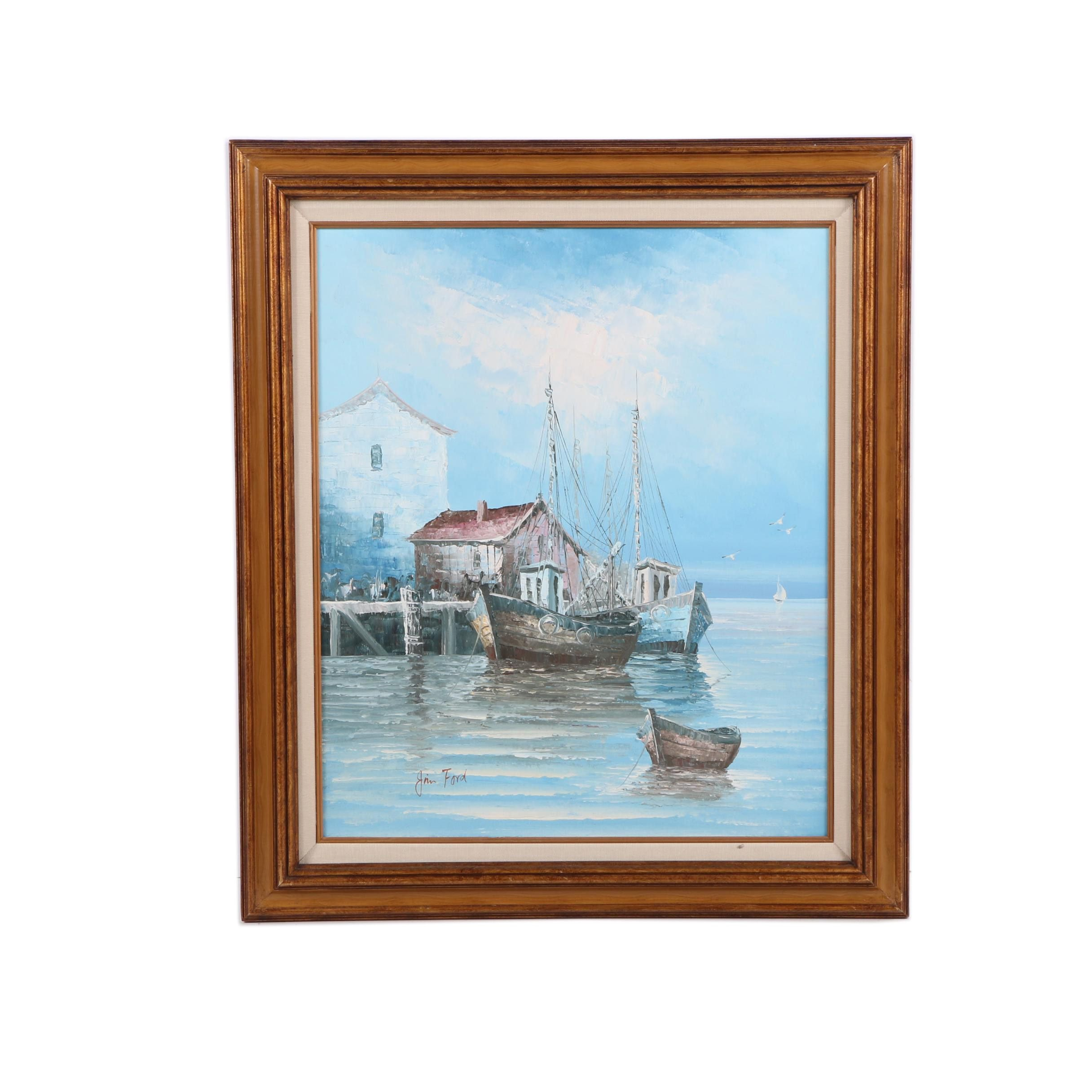 Jim Ford Oil Painting on Canvas of a Harbor