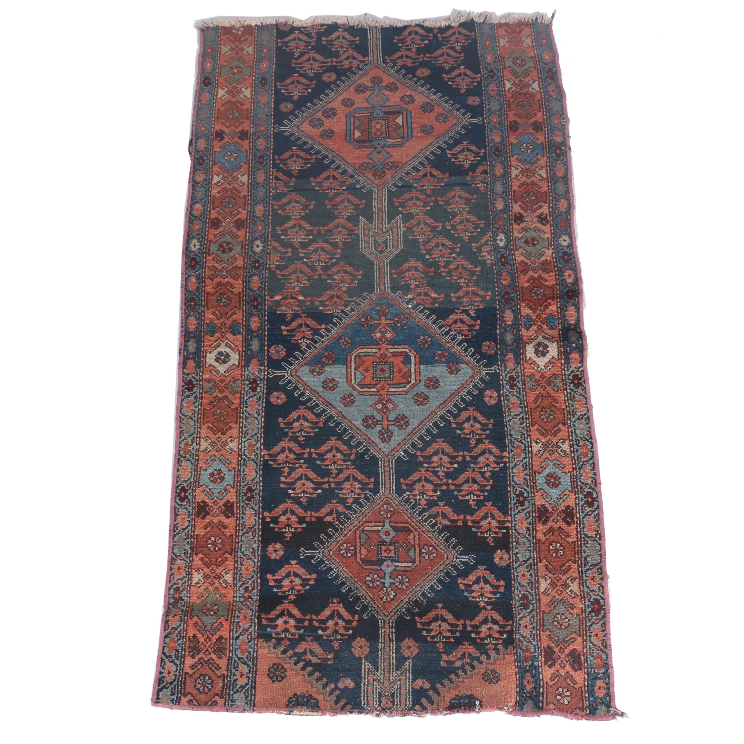 Hand-Knotted Caucasian Dagestan Wool Carpet Runner Remnant