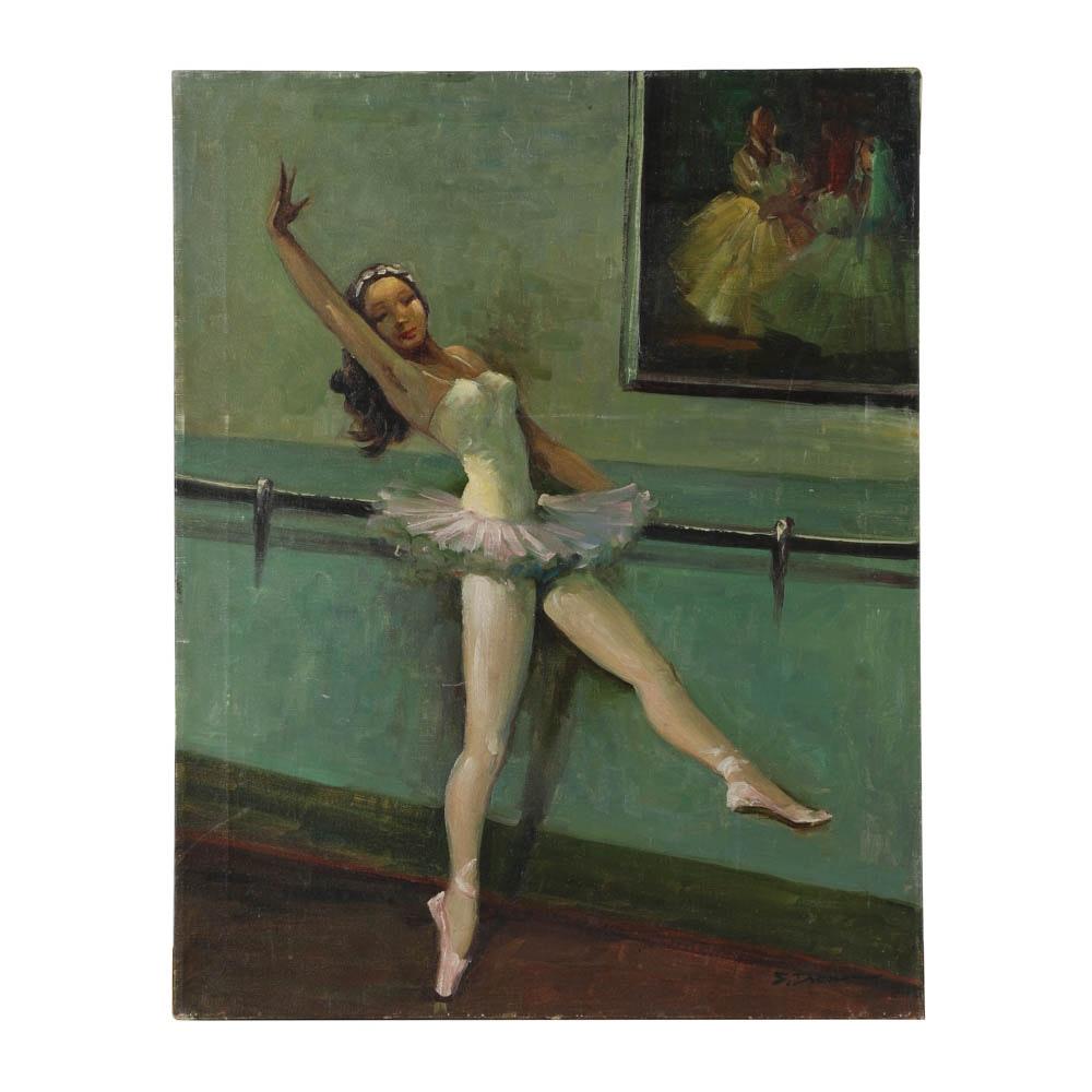 S. Dresser Oil Painting on Canvas Portrait of Ballet Dancer