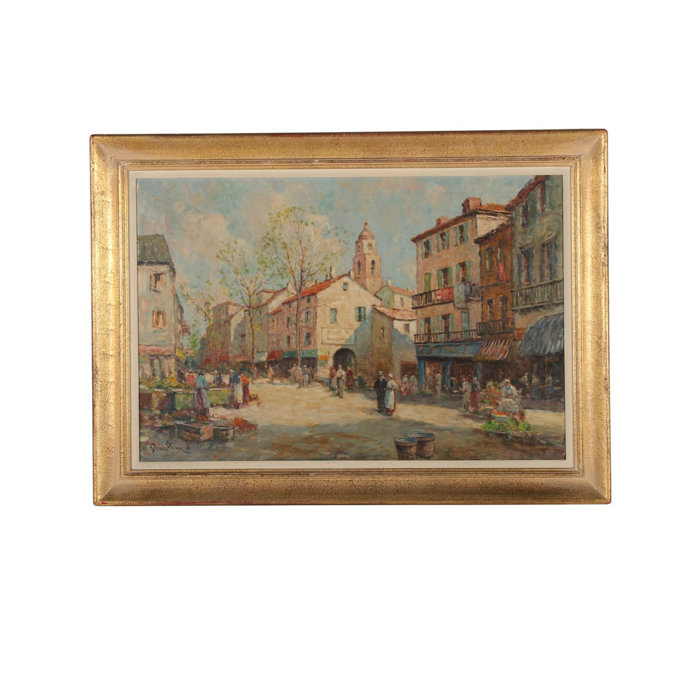 Dennis Ainsley Oil Painting on Canvas of a Street Market