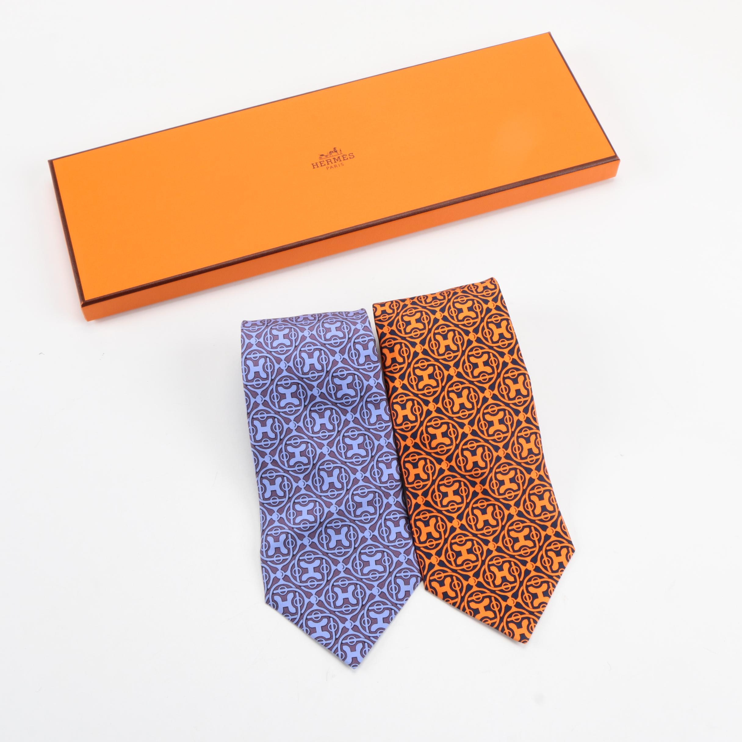 Hermès Silk Ties in Orange and Blue