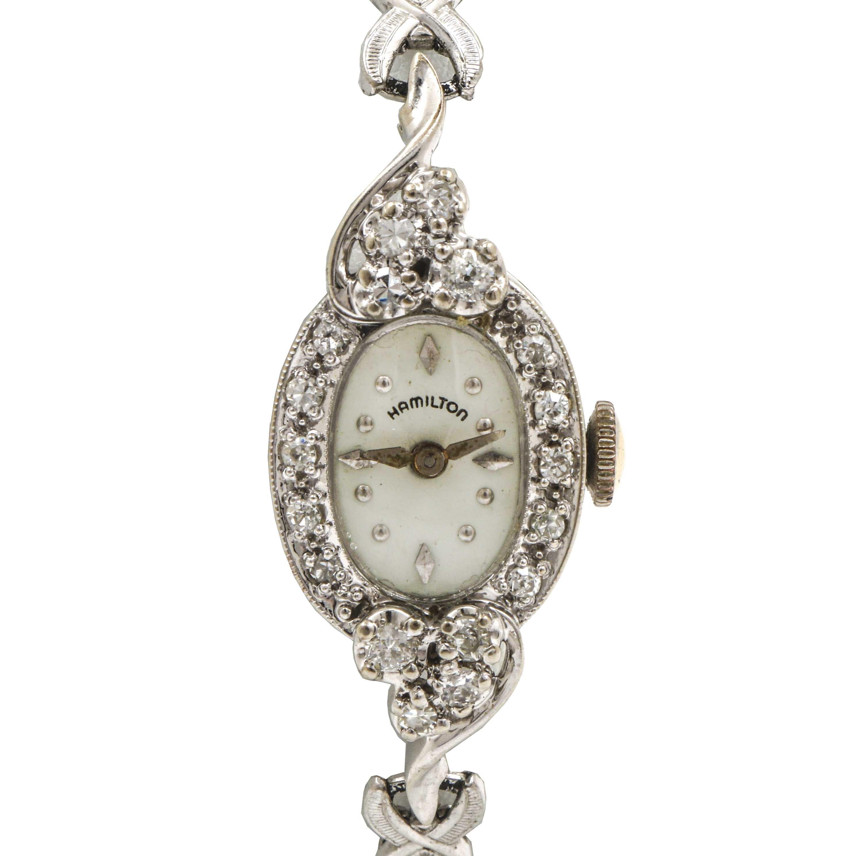 Hamilton 14K White Gold Diamond Wristwatch