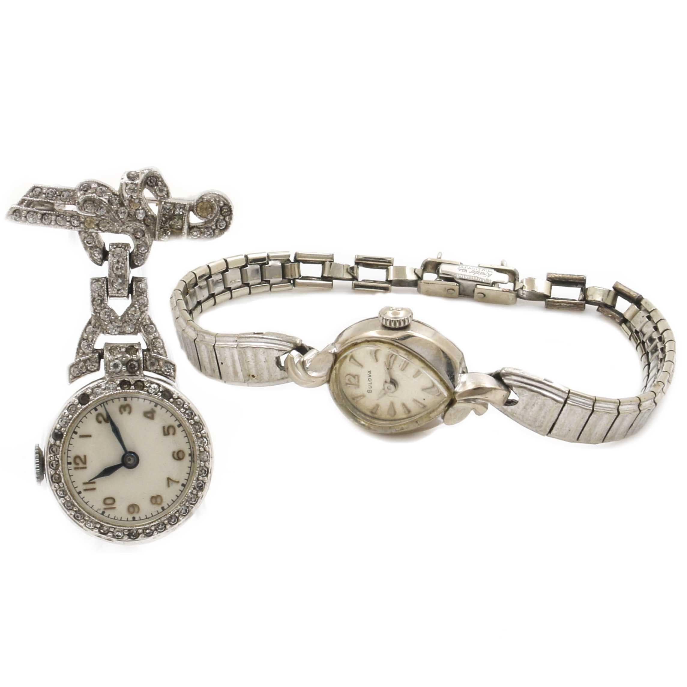 Bulova 10K Gold Plate Wristwatch and a Watch Pin