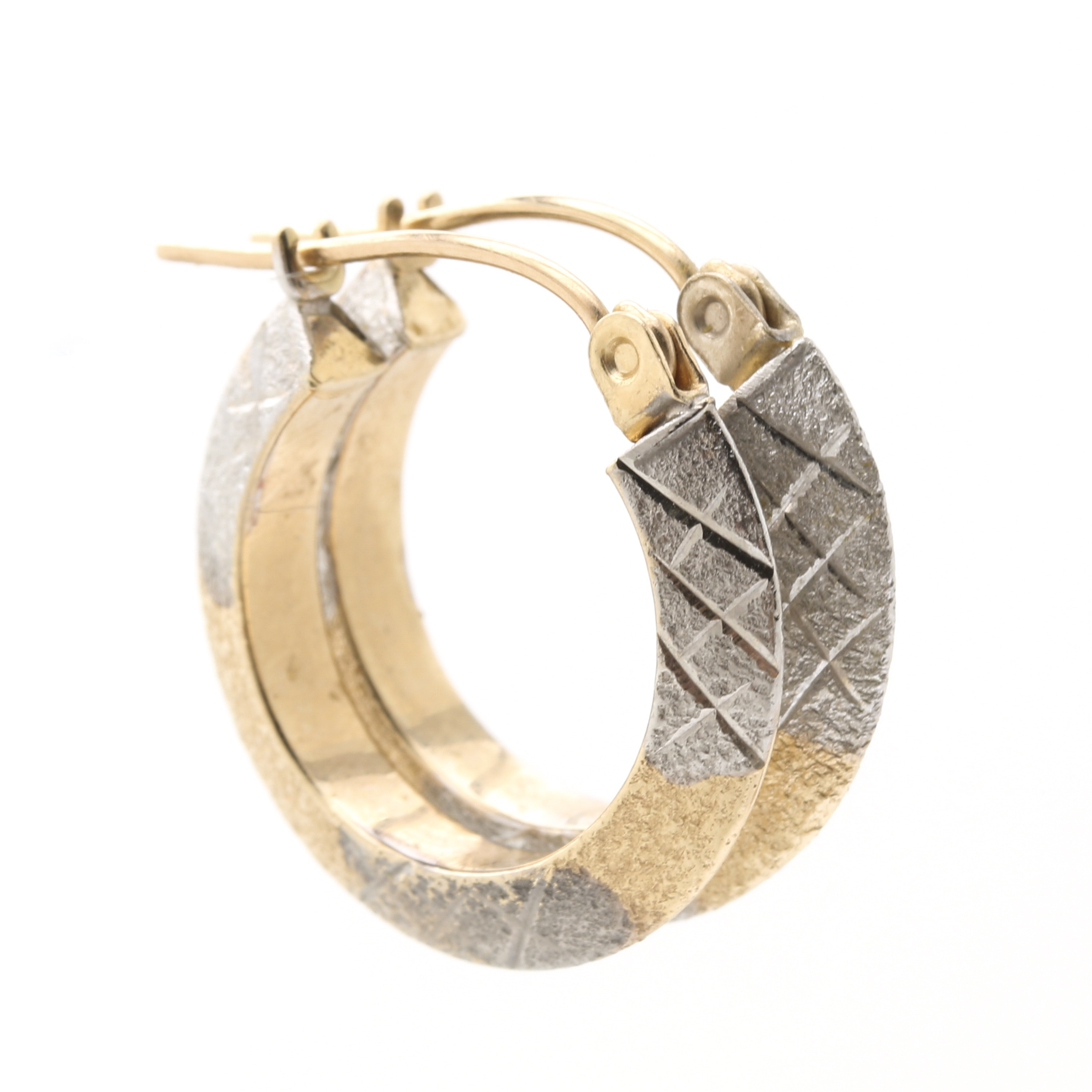 14K White and Yellow Gold Hoop Earrings