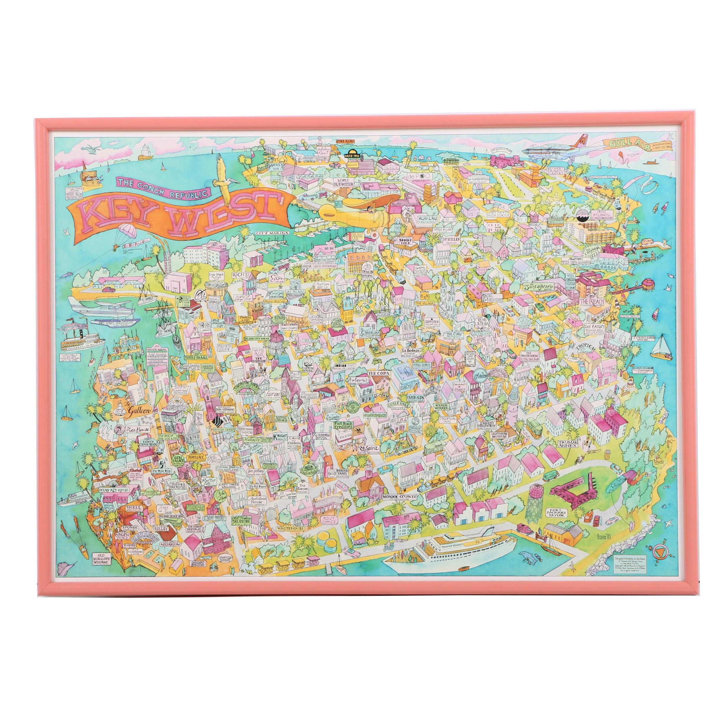 Offset Lithograph After Ron Baeza Map of Key West