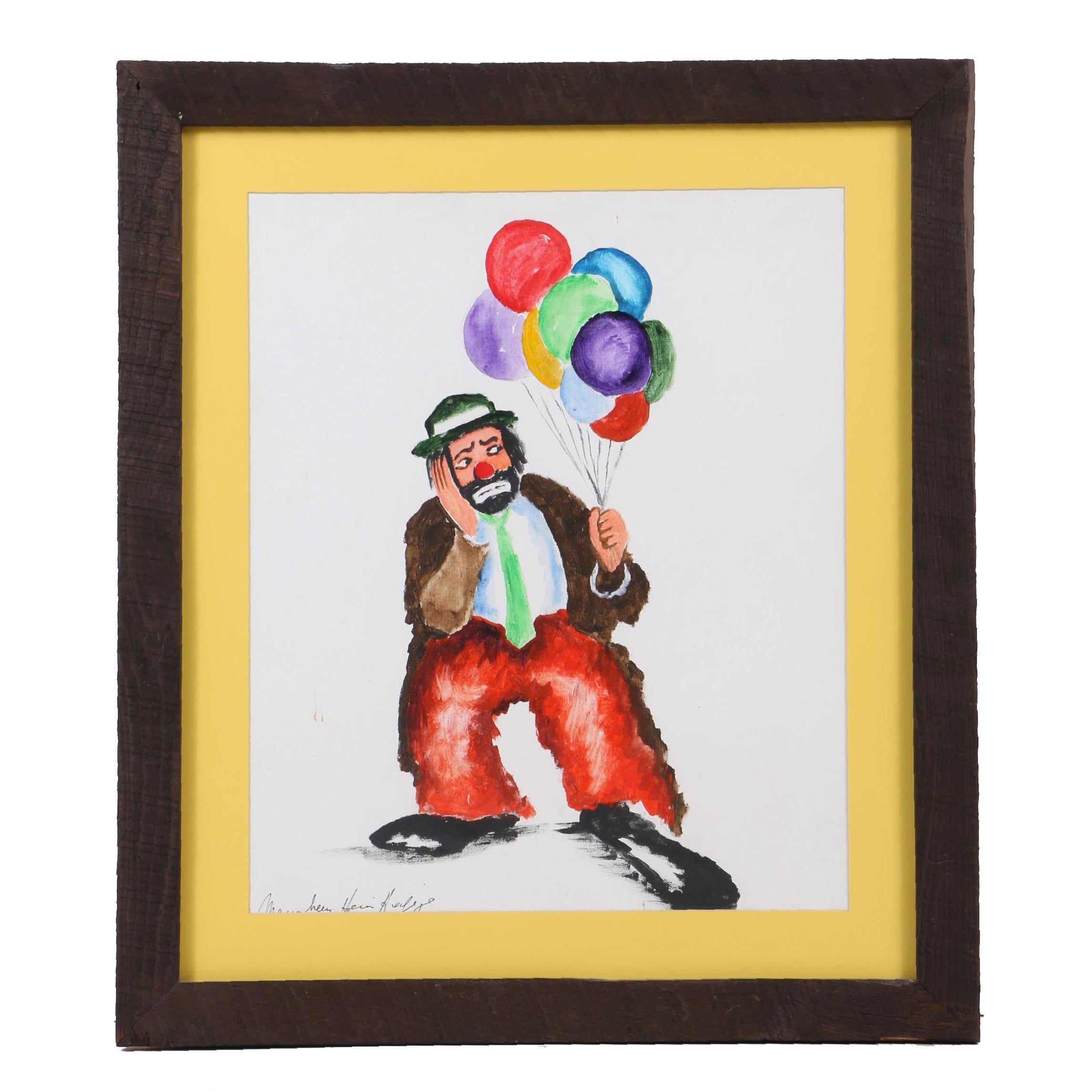 Acrylic Painting on Canvas Board of Sad Clown