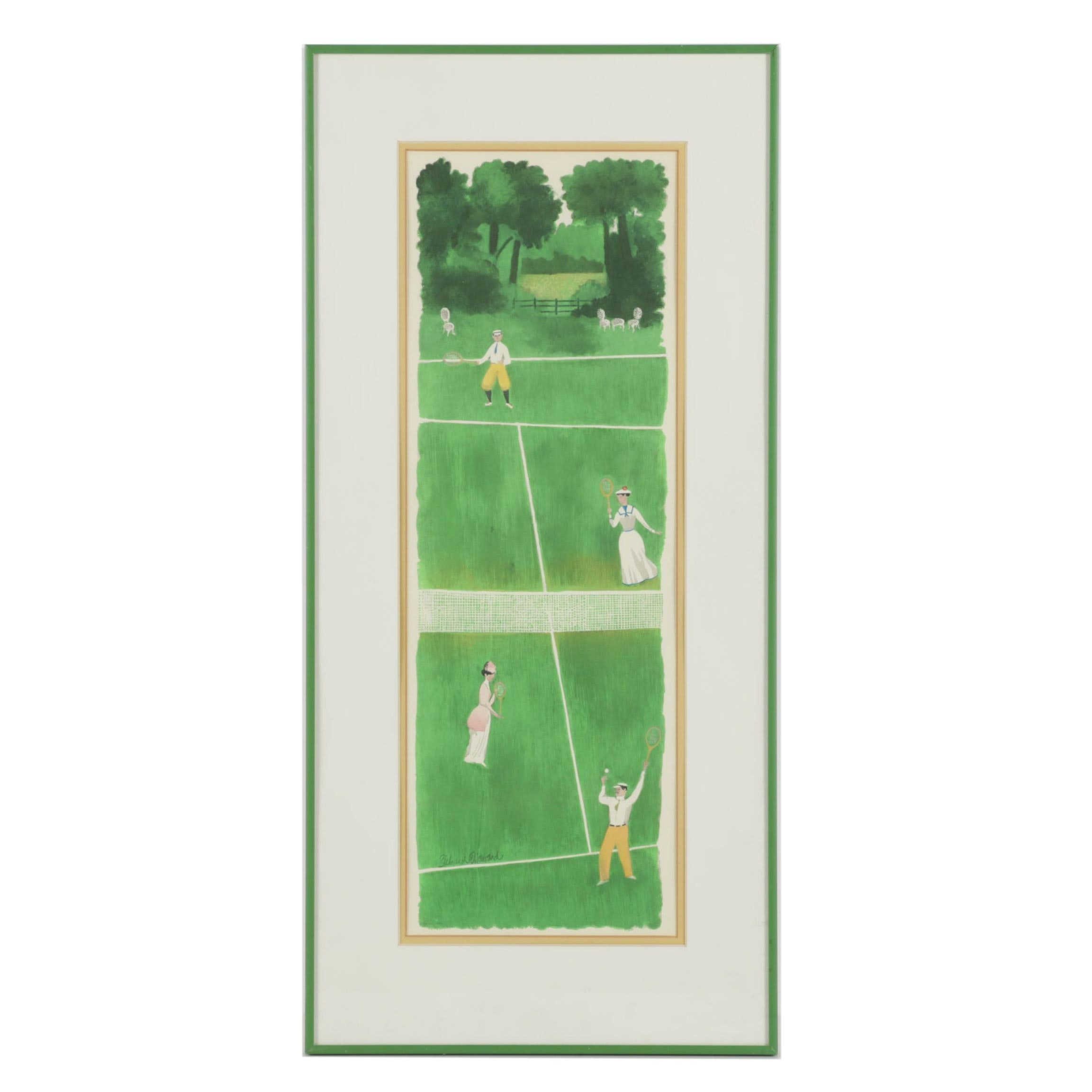 Richard Howard 1973 Serigraph on Paper of Early 20th Century Tennis Match