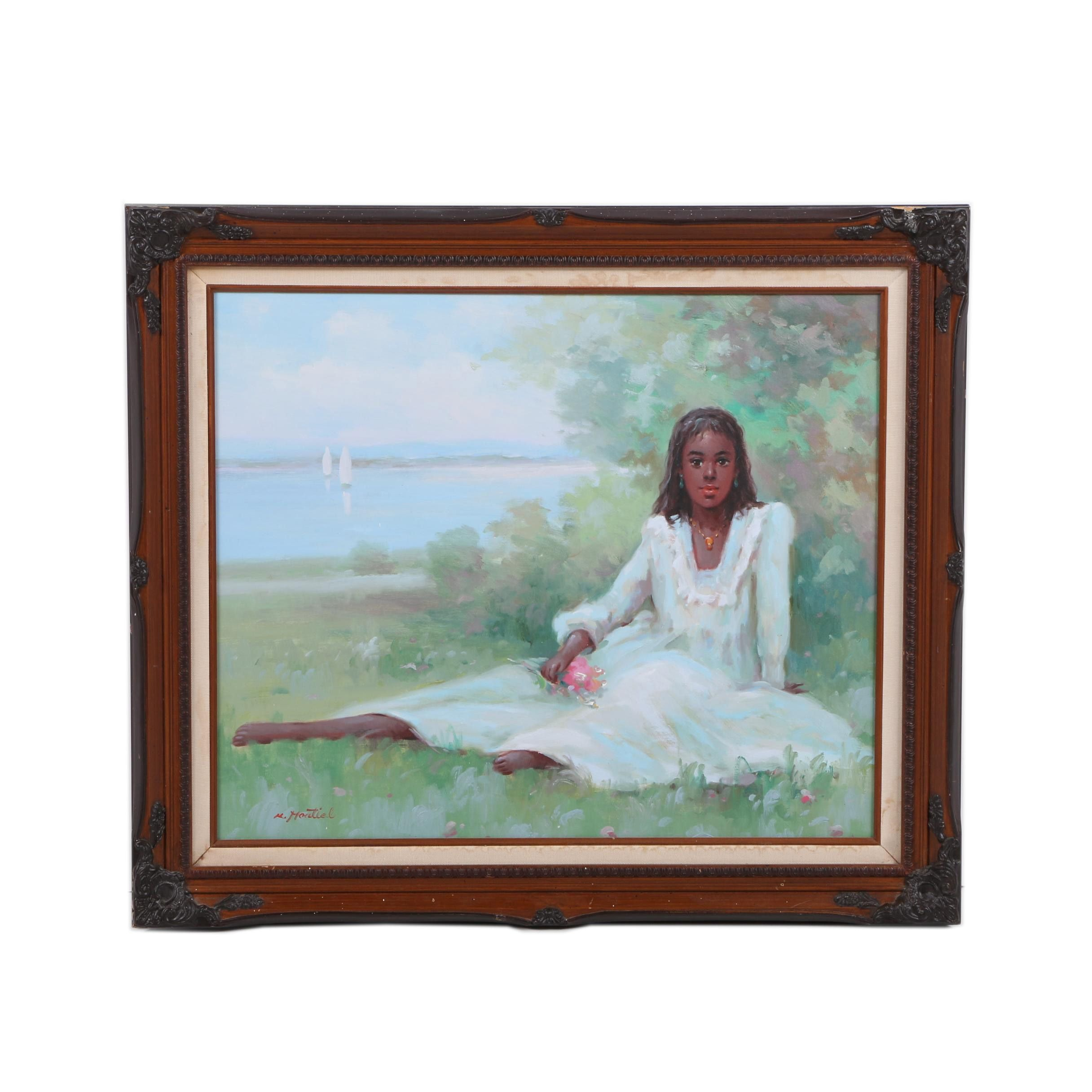 M. Montial Oil Painting on Canvas of a Young Woman