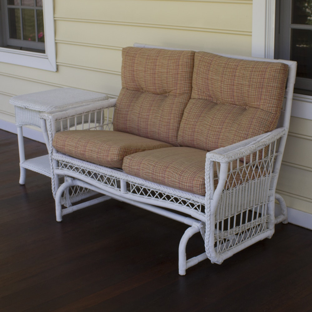 Wicker Glider and Side Table