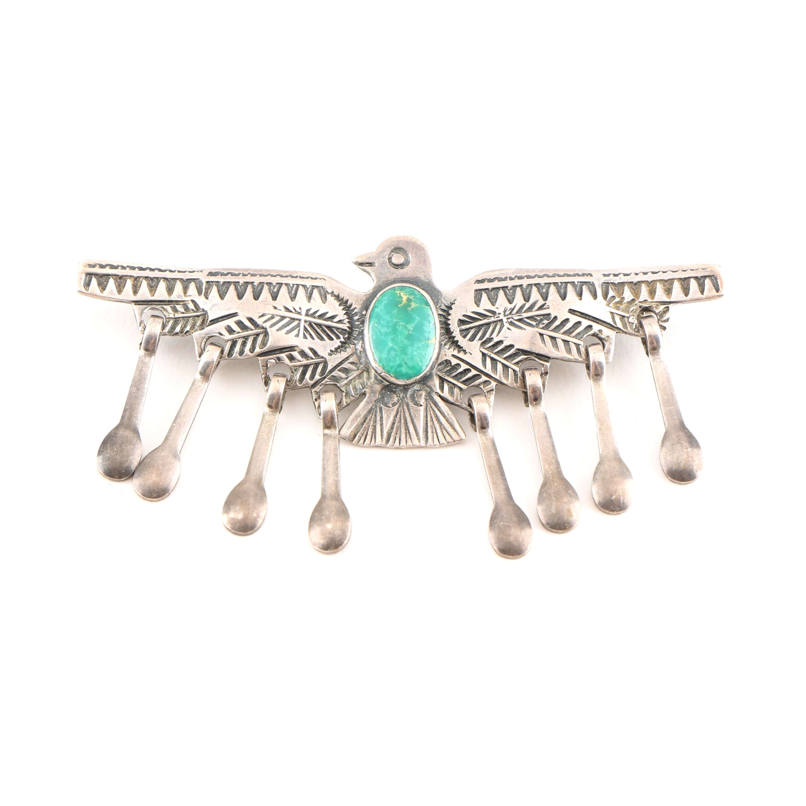 Sterling Silver Native American Style Eagle Brooch With Turquoise Accent