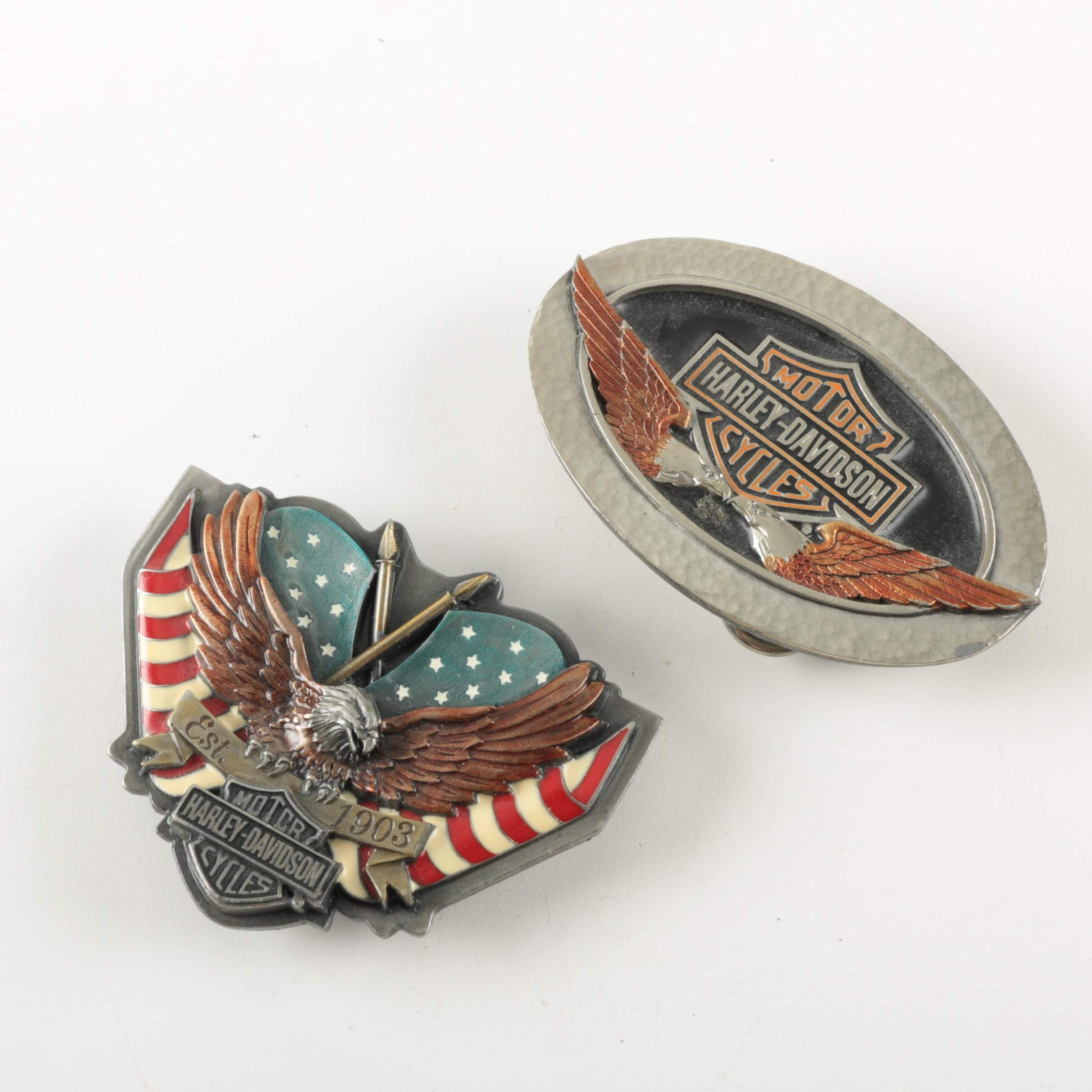 Two Harley Davidson Belt Buckles