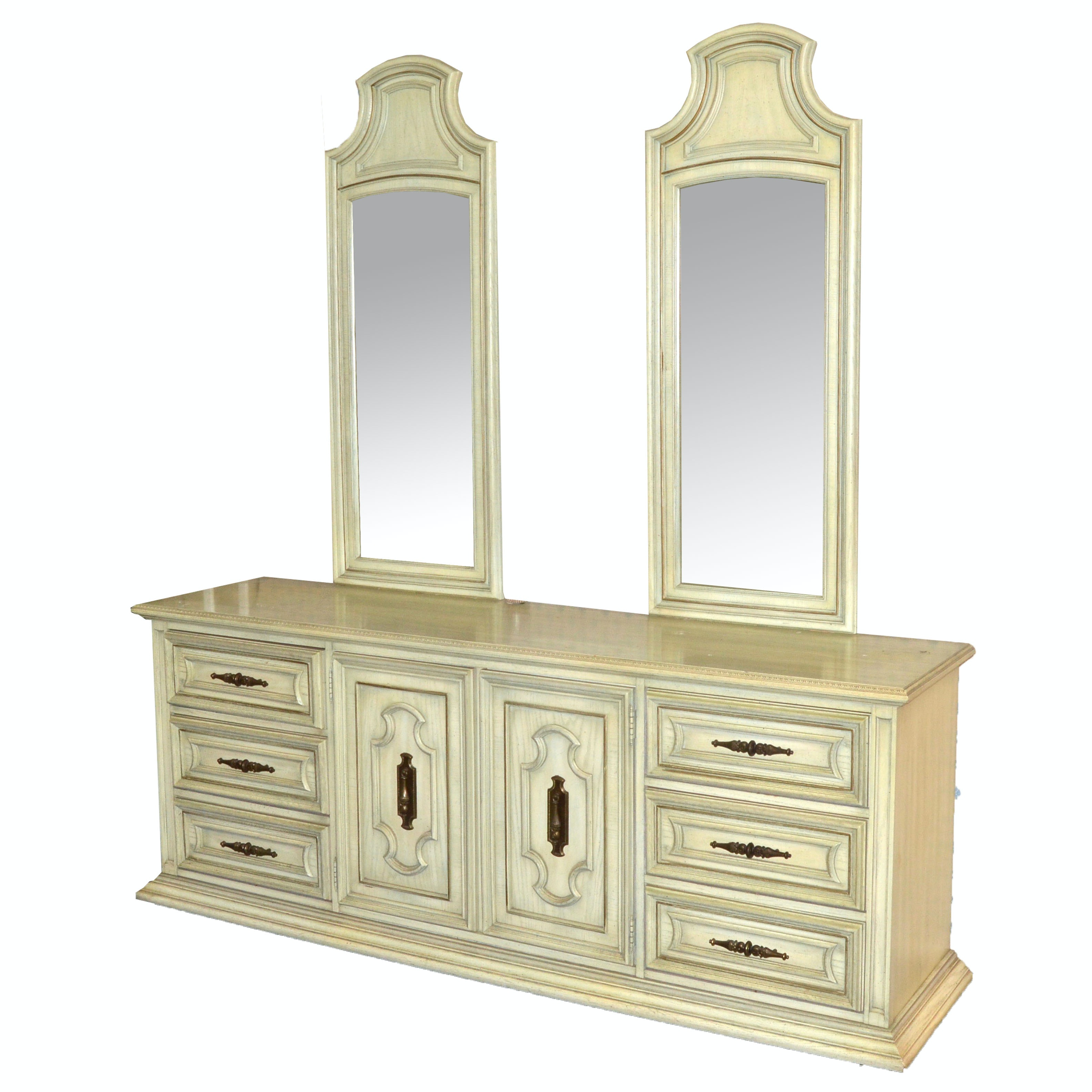 Louis XVI Style Dresser and Mirror Set by Stanley Furniture