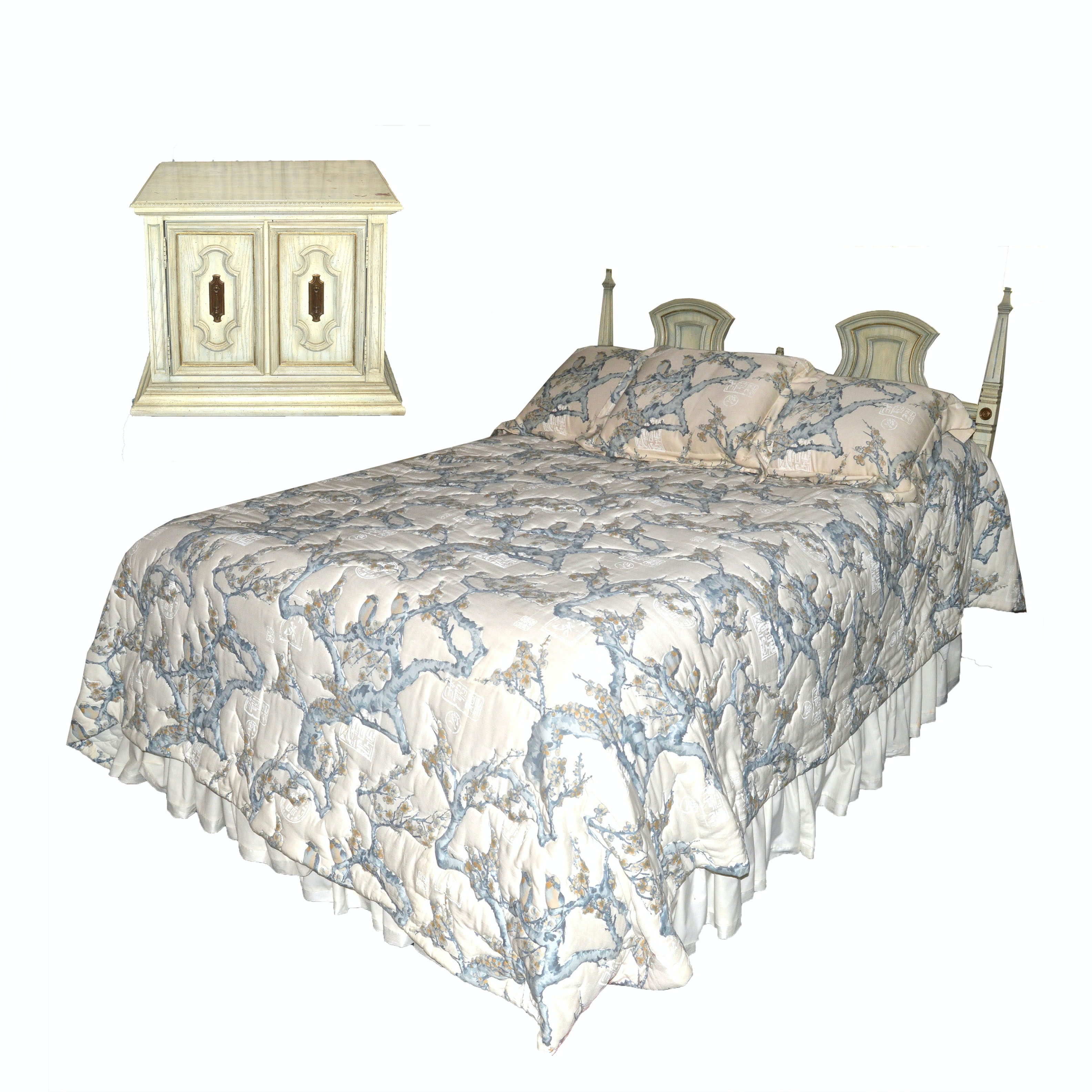 Louis XVI Style Queen Bed Frame, Quilt Set and Nightstand