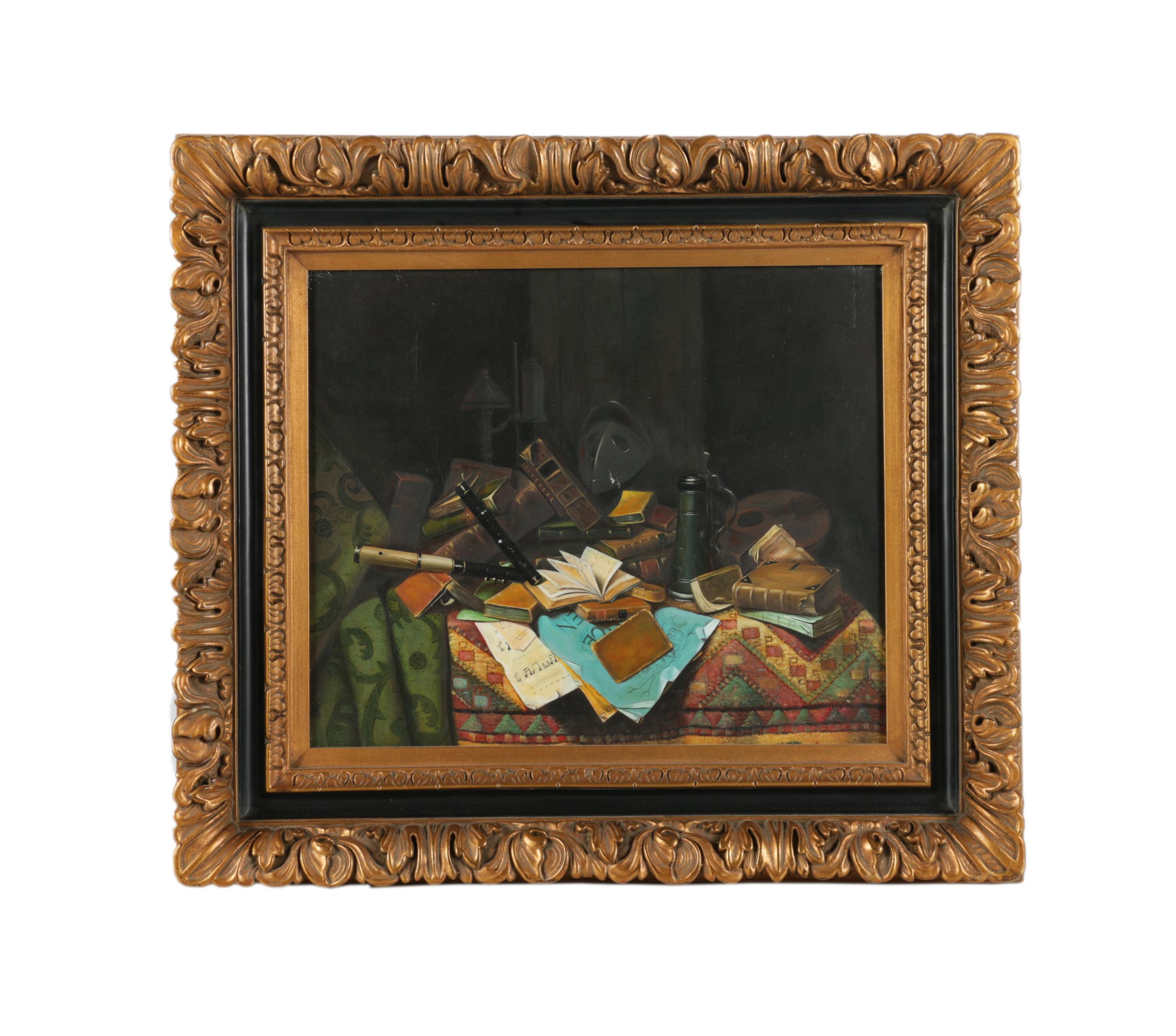 """Oil Copy Painting on Canvas after 1882 William Harnett Painting """"A Study Table"""""""