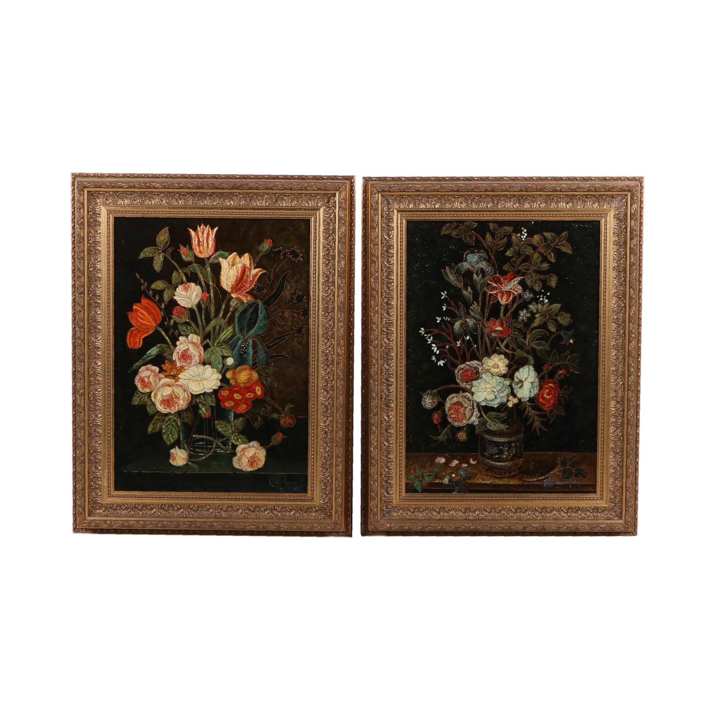 Pair of Enamel on Wood Still Life Compositions