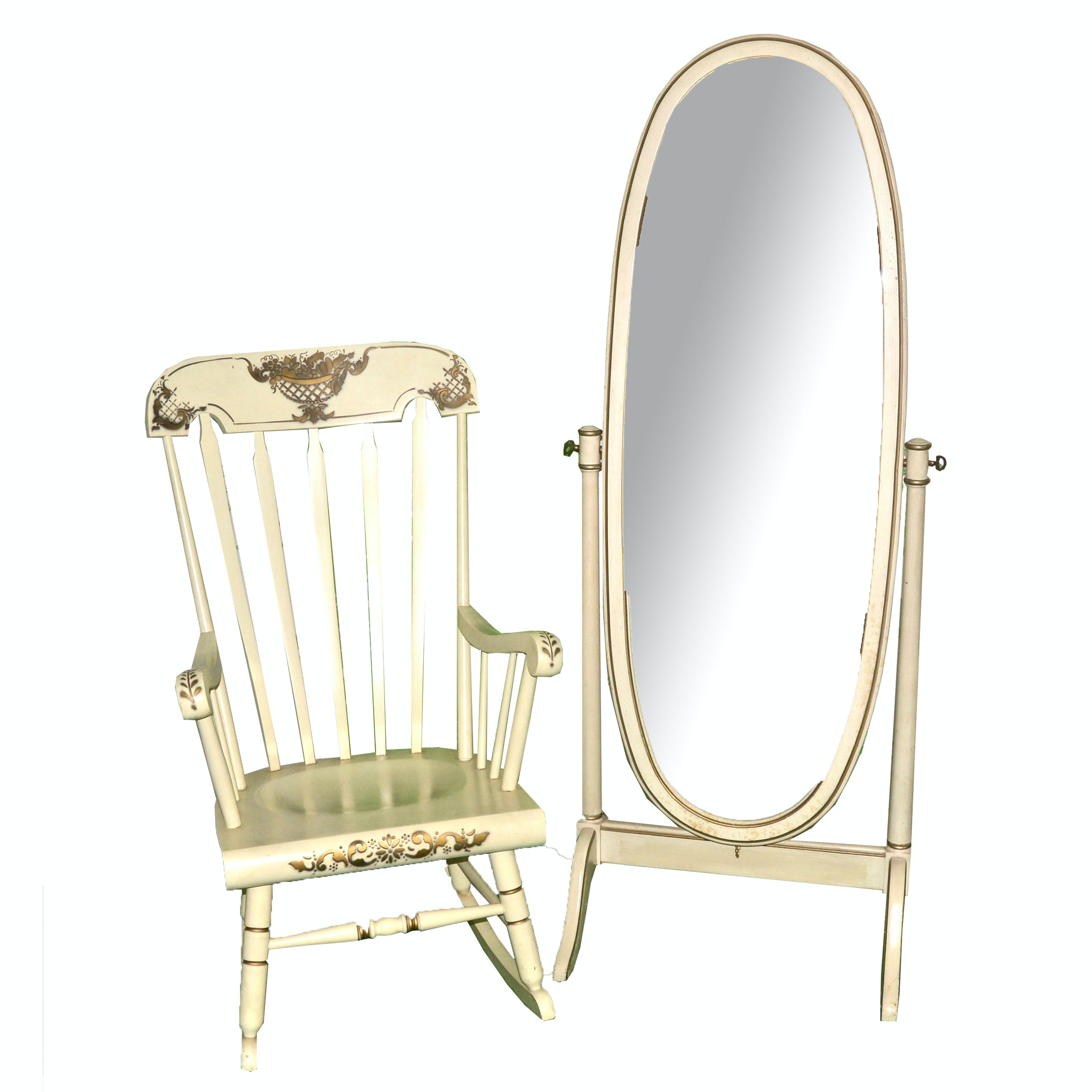 Wooden Rocking Chair and Full-Length Swivel Mirror