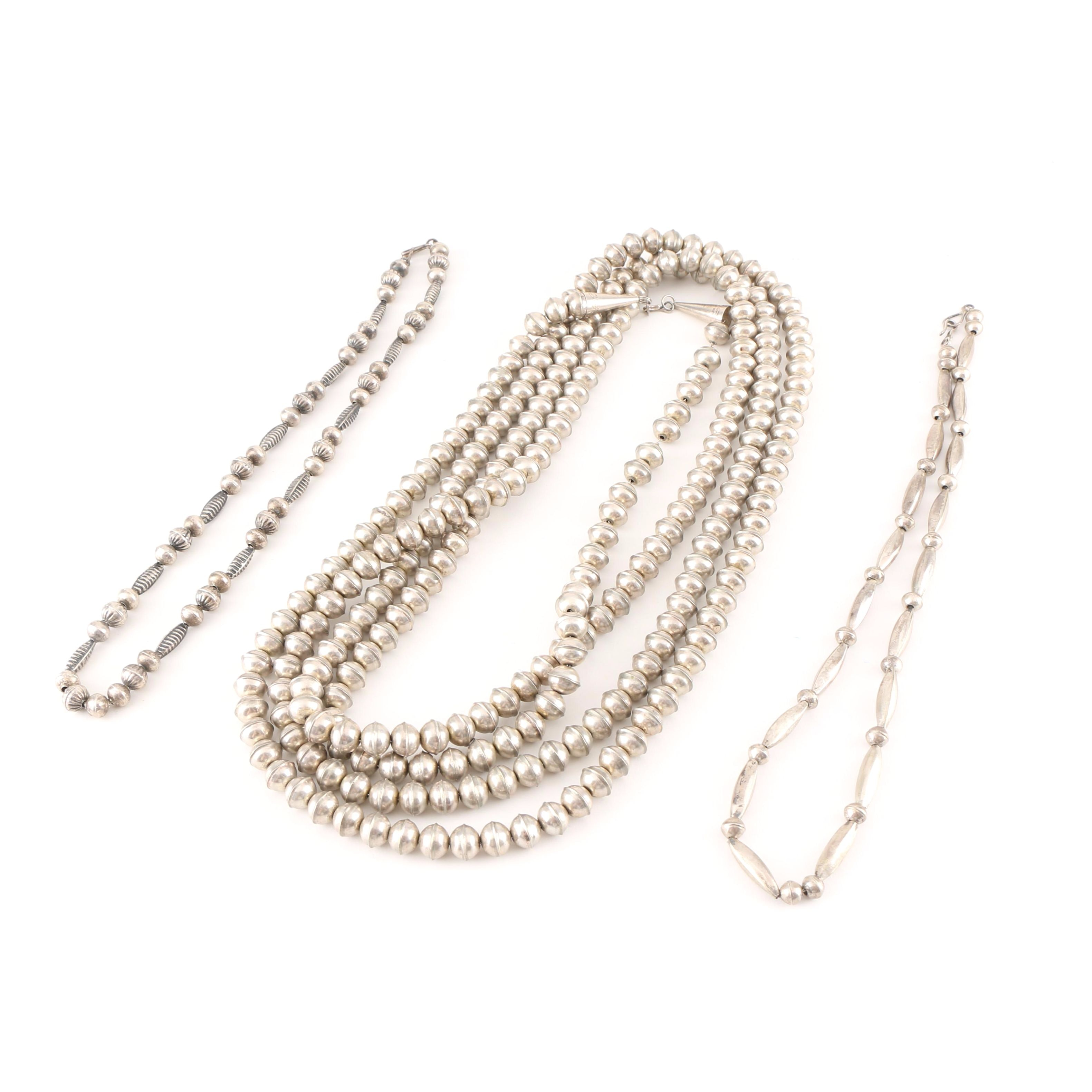 Pair of Metal Beaded Necklaces With One Sterling Silver Necklace