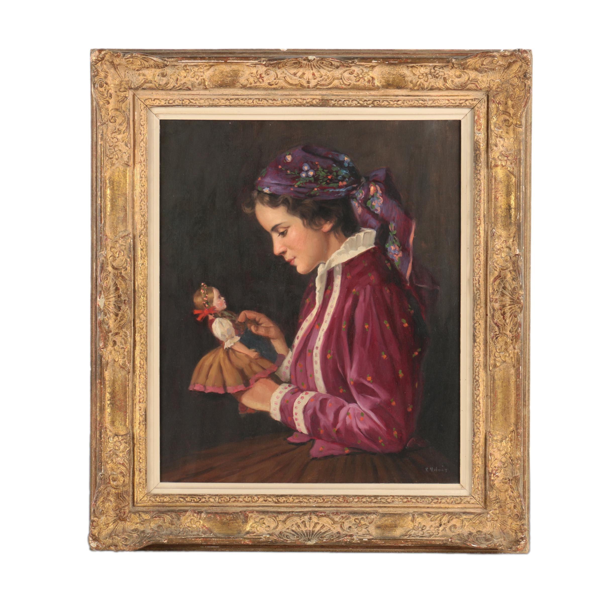 Lajos Rezes Molnár Oil on Canvas Portrait of a Young Woman