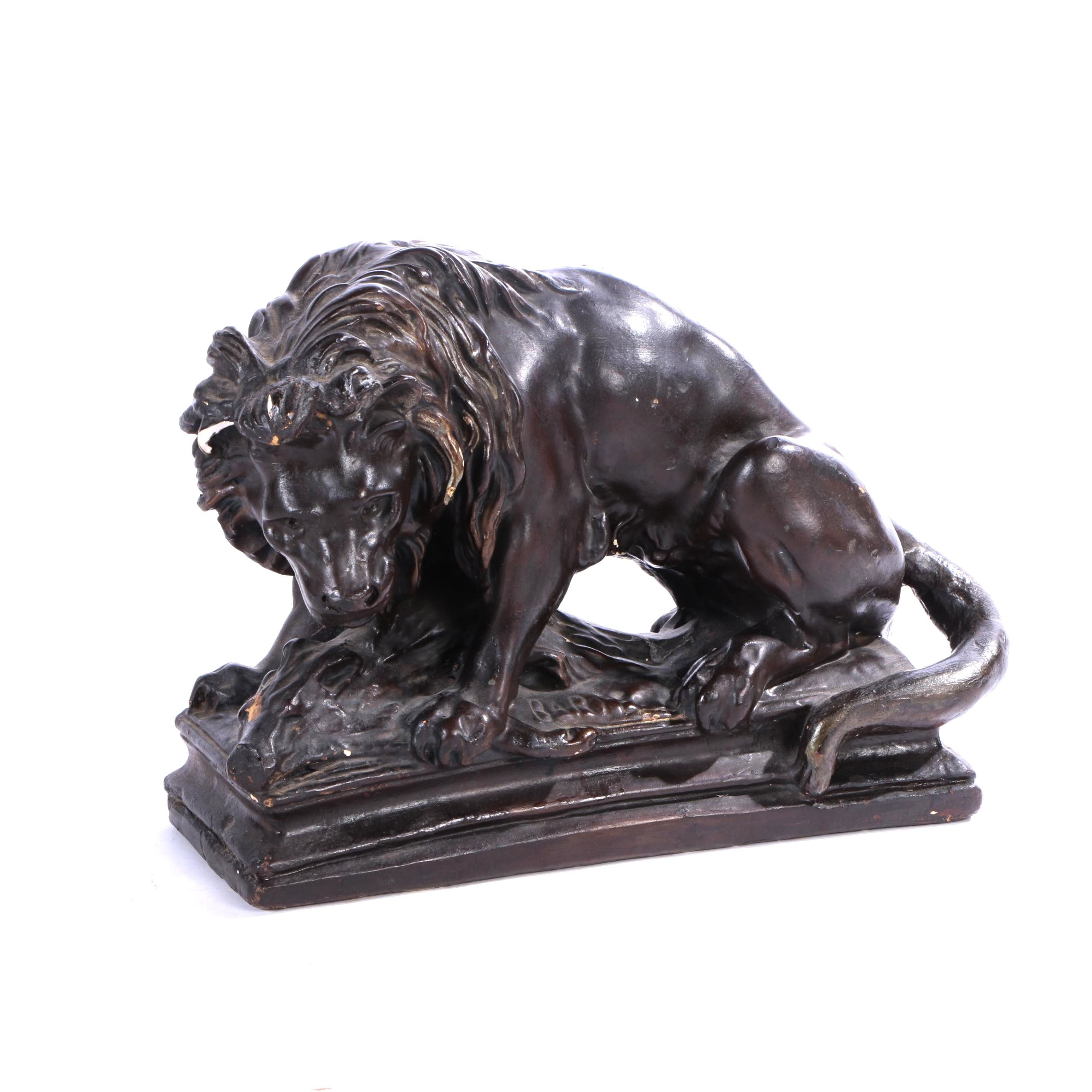 Vintage Plaster Barbary Lion Figurine