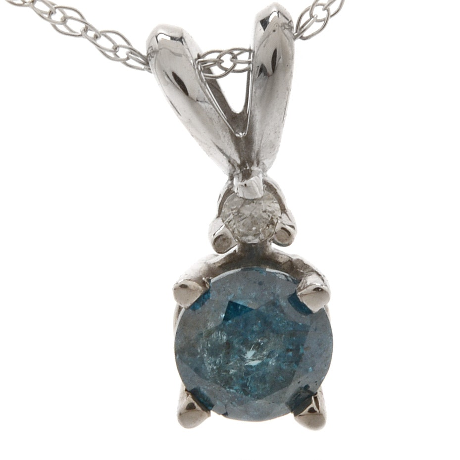 10K and 14K White Gold Irradiated Blue Diamond Pendant Necklace