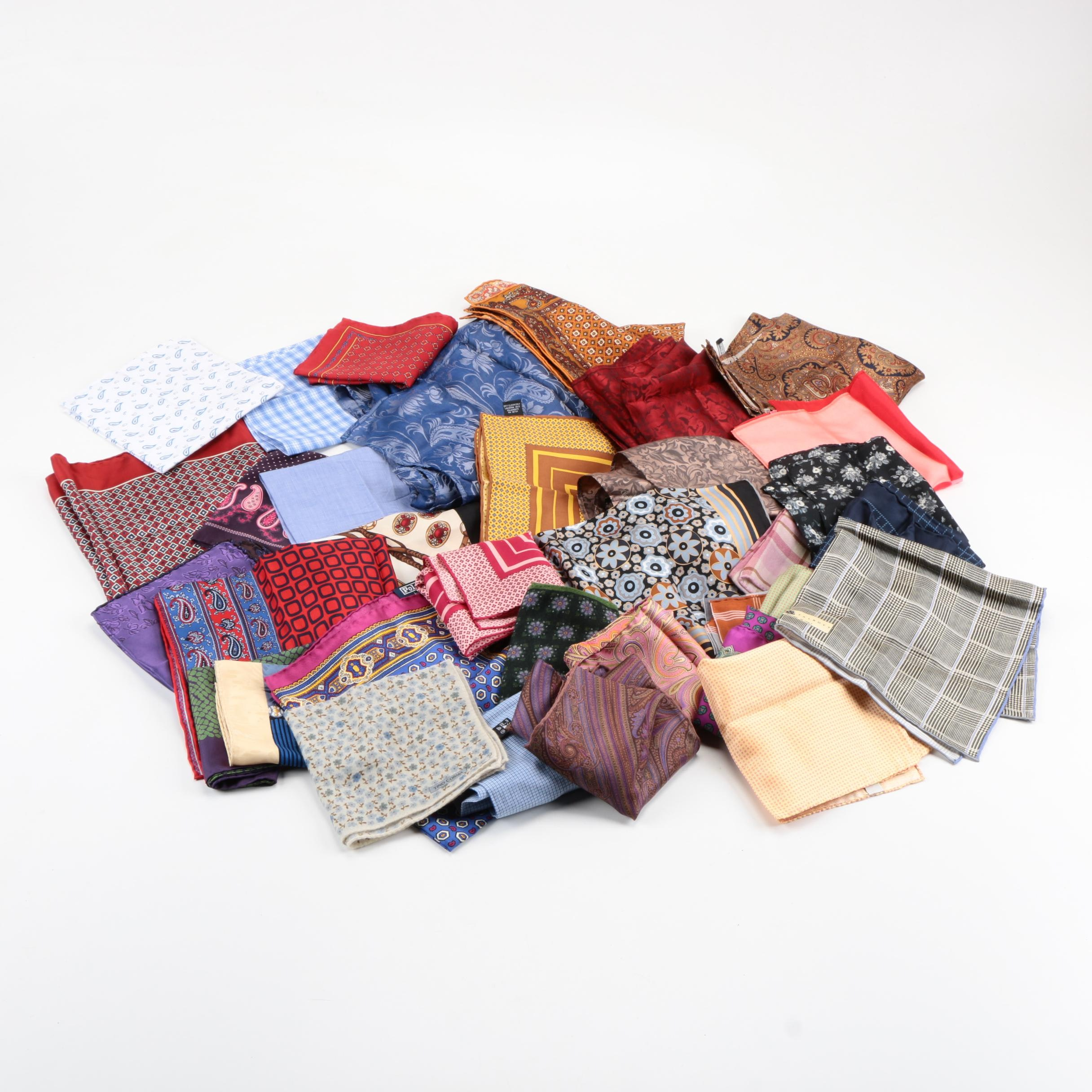 Pocket Squares Including POLO by Ralph Lauren and Robert Talbott