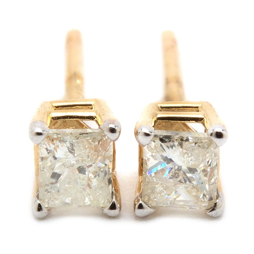 Pair of 14K Yellow Gold Princess-Cut Diamond Stud Earrings