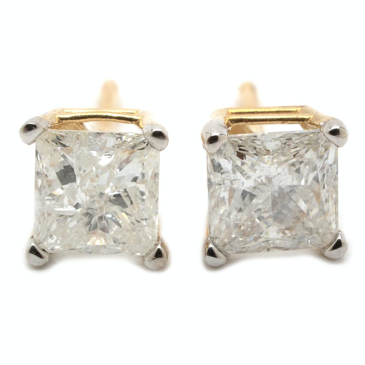 Pair of 14K Yellow Gold 1.05 CTW Princess-Cut Diamond Stud Earrings