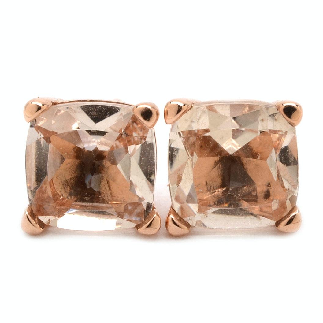 Pair of 14K Yellow Gold Morganite Stud Earrings
