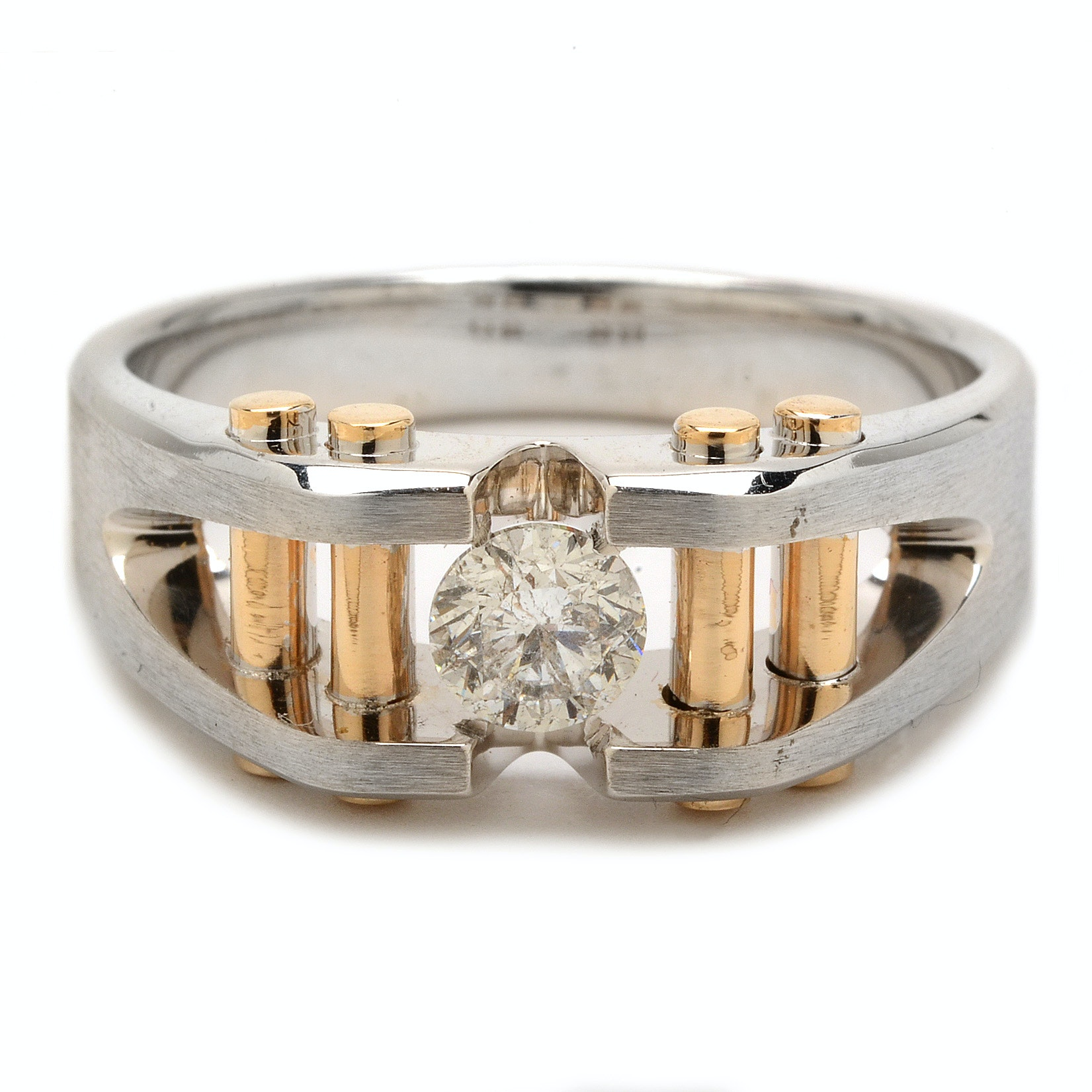 I.B. Goodman 14K Two-Tone Solitaire Diamond Men's Ring