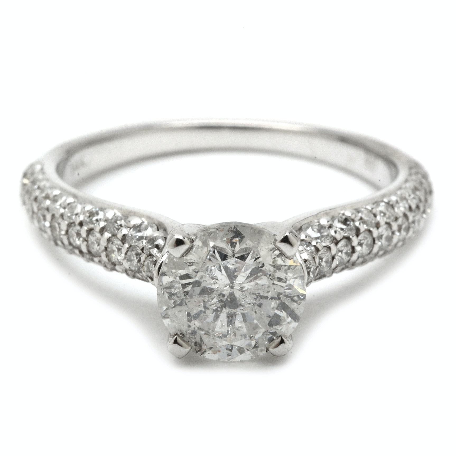 14K White Gold 1.58 CTW Diamond Engagement Ring