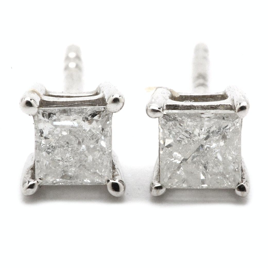 Pair of 14K White Gold Princess-Cut Diamond Stud Earrings