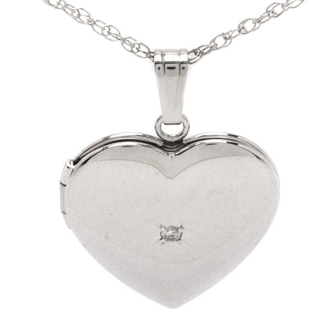 14K White Gold Heart-Shaped with Diamond Locket Pendant Necklace