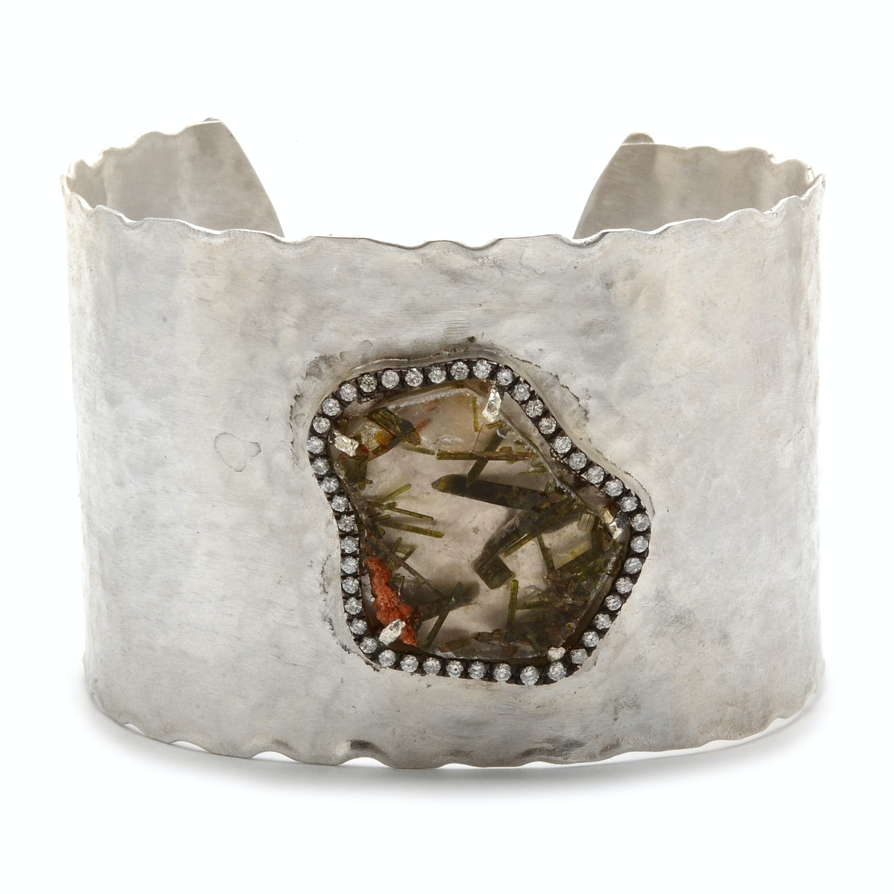 Jordan Alexander Sterling Silver Epidote Quartz Slice and Diamond Cuff Bracelet