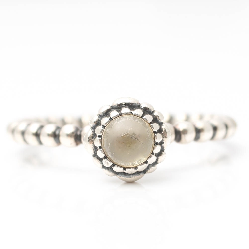 Pandora Sterling Silver Clear Cabochon Bead Ring