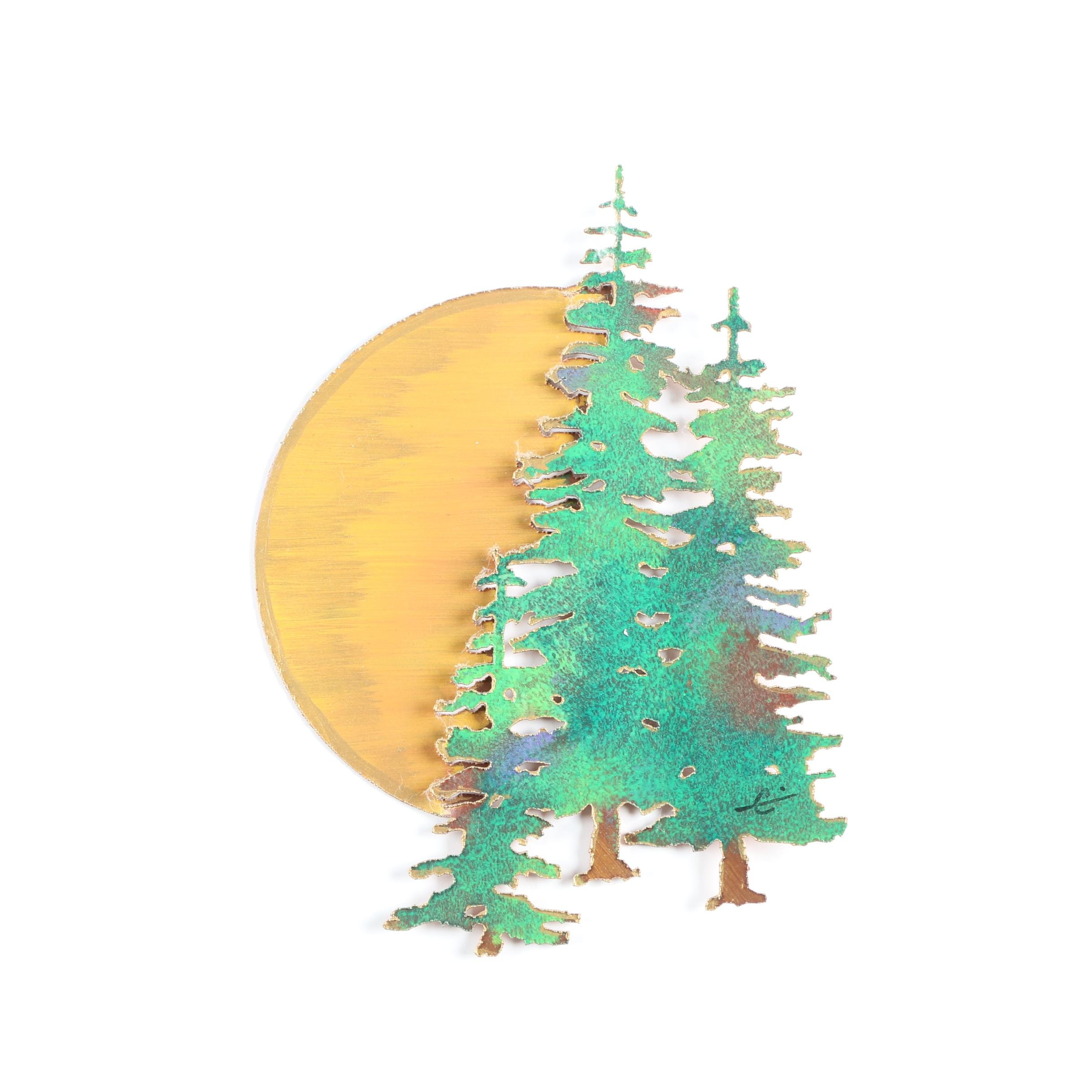 Painted Metal Wall Sculpture of Evergreens in the Moonlight