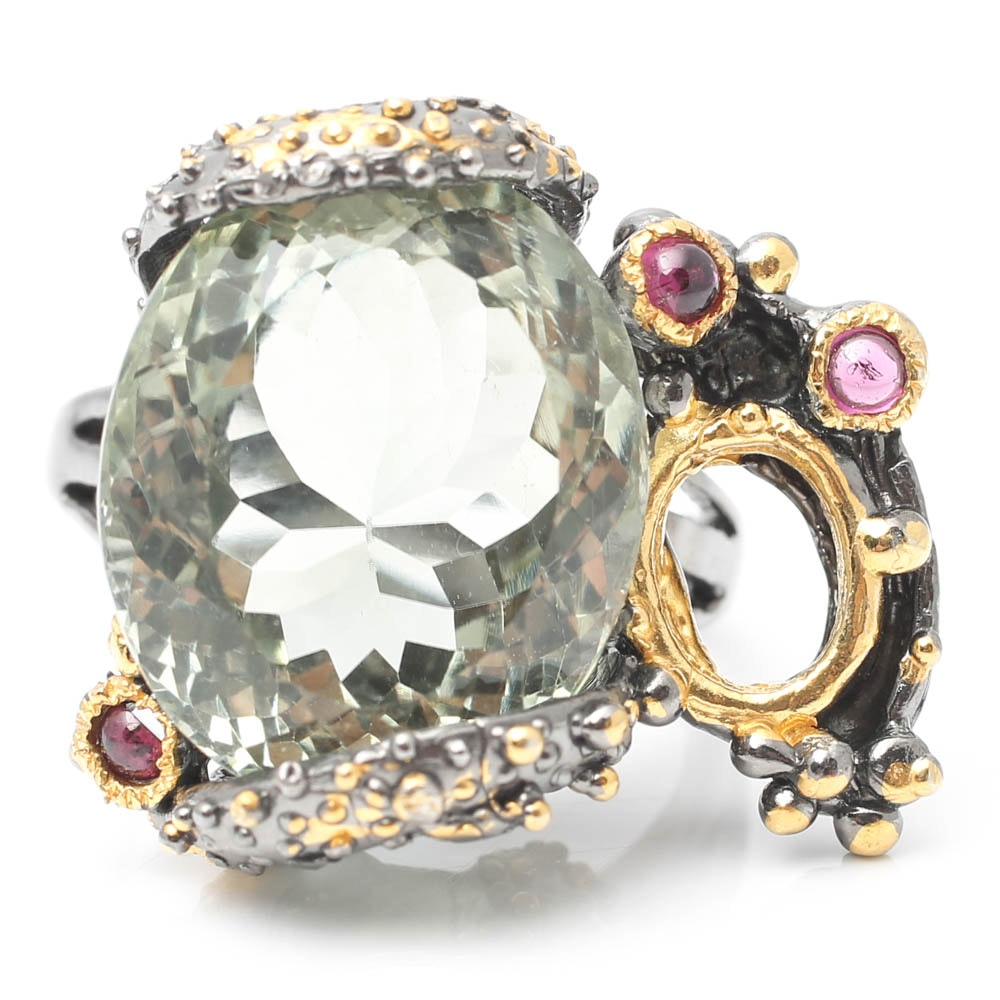 Sterling Silver Green Quartz Ring with Garnets