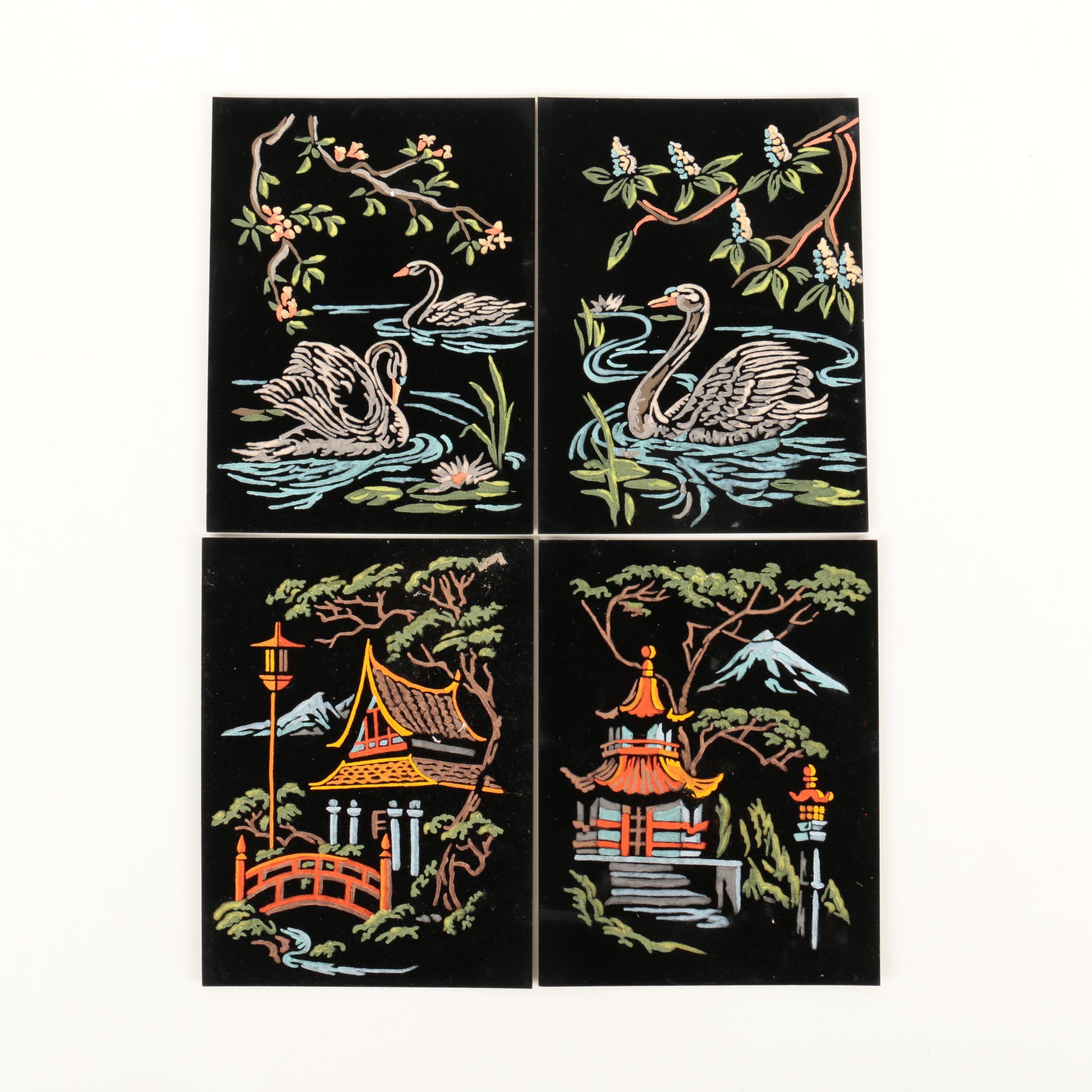 East Asian Inspired Gouache Paintings on Black Velvet