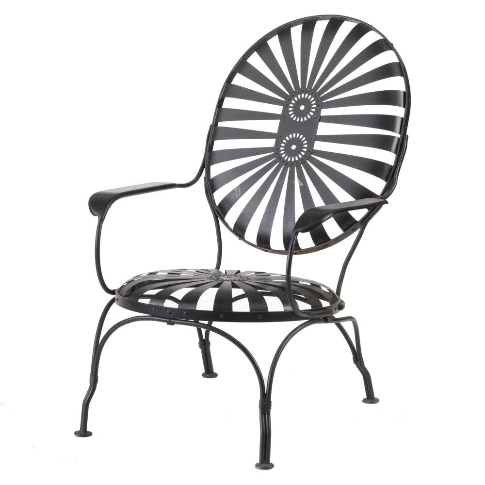 """Vintage Mid-Century Francois Carre """"Sunburst"""" Outdoor Lounge Chair"""