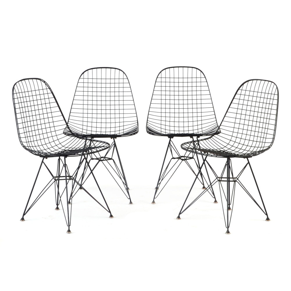 Set of Four Eames Style Wire Chairs