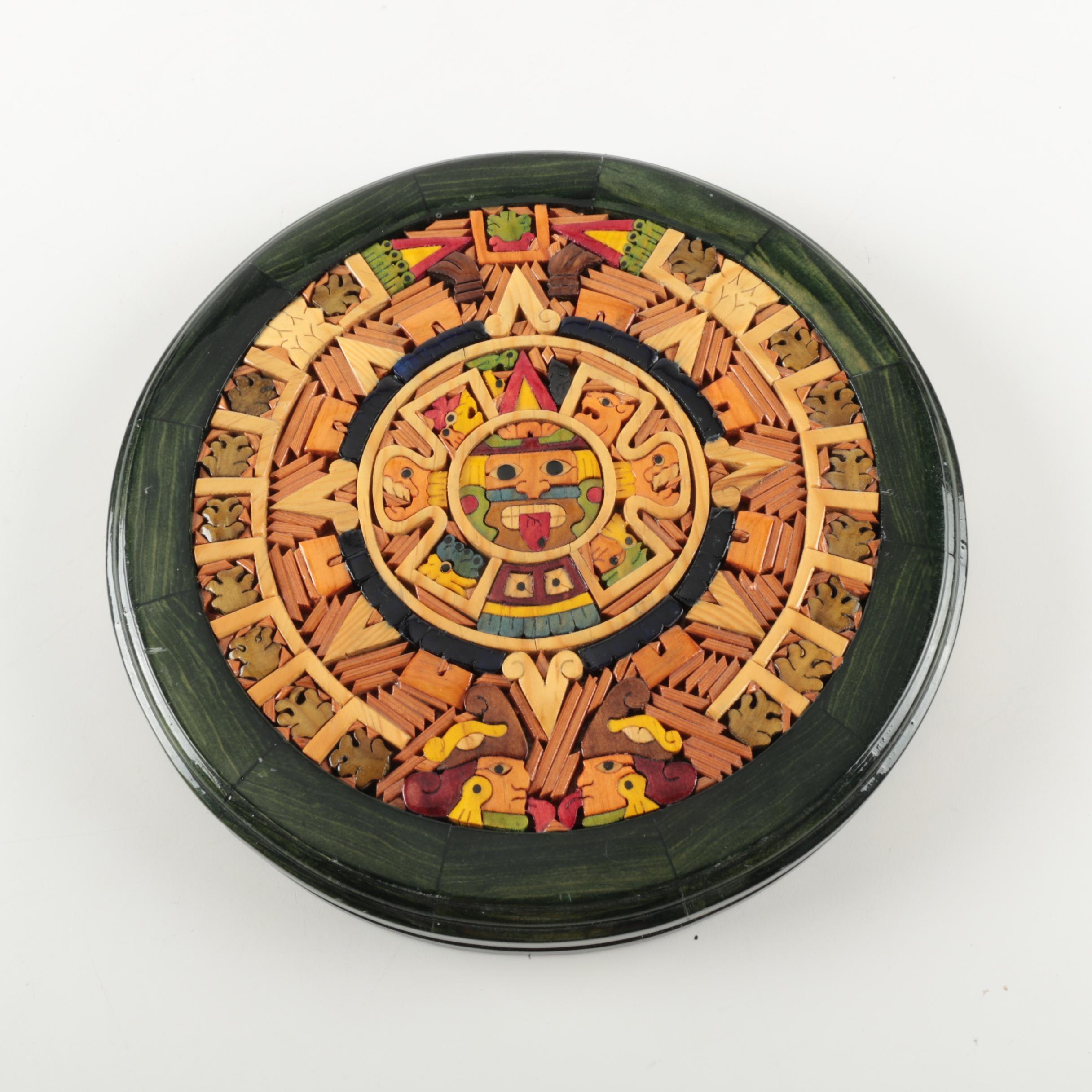 Painted Wood Aztec Calendar